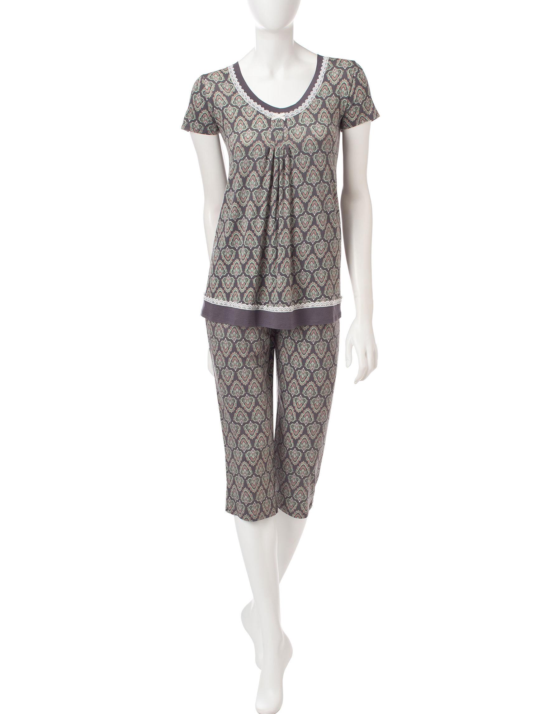 Ellen Tracy Grey Multi Pajama Sets
