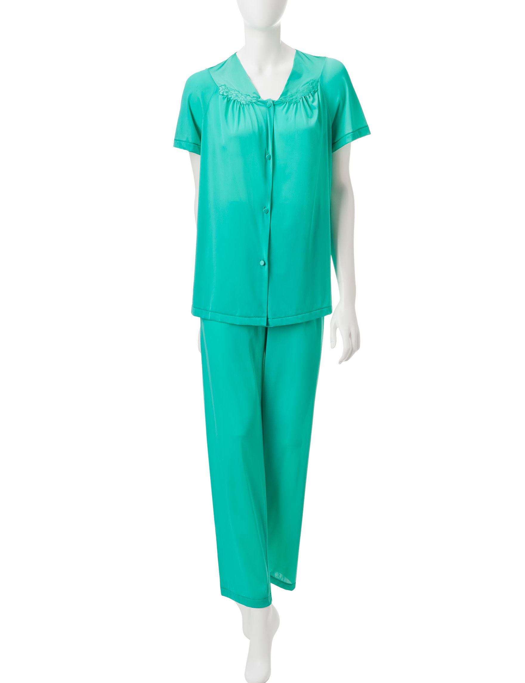 Vanity Fair Green Pajama Sets