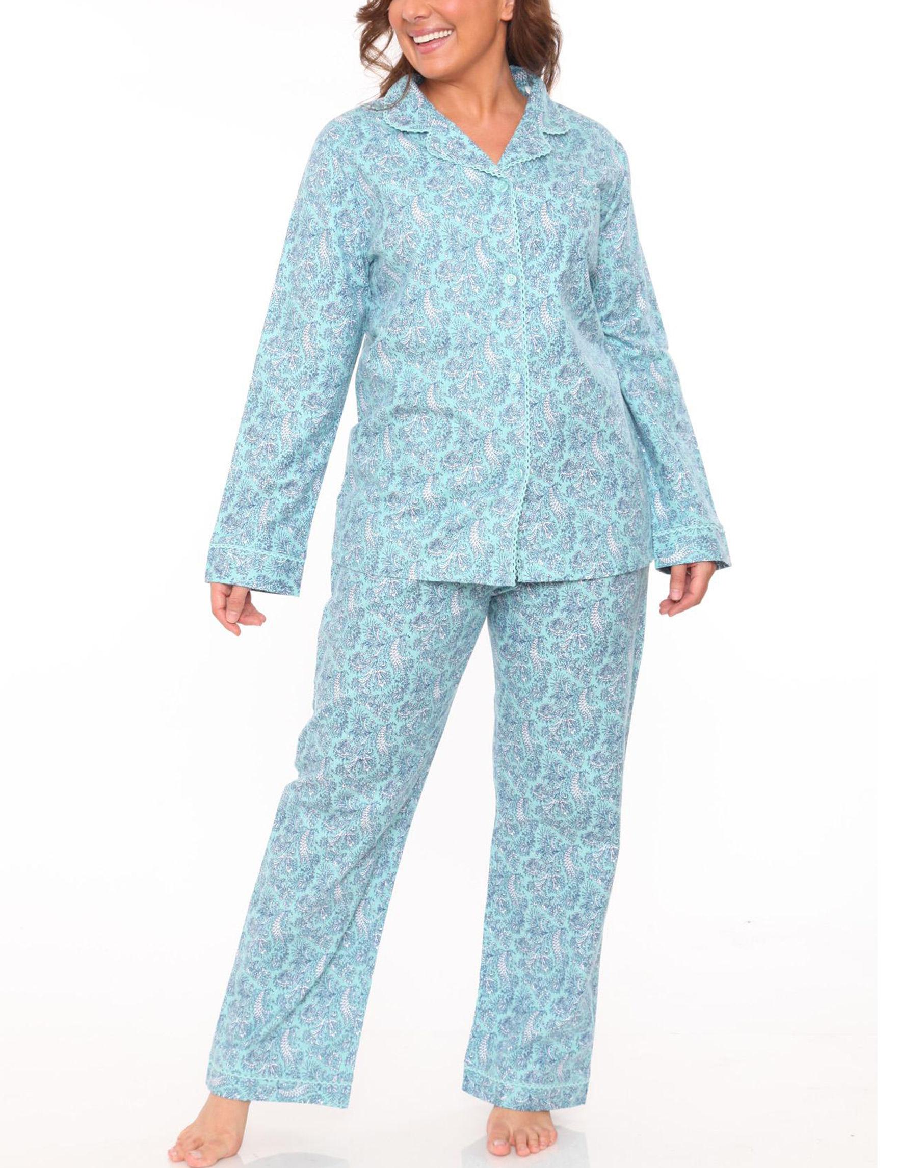 White Mark Mint Pajama Sets