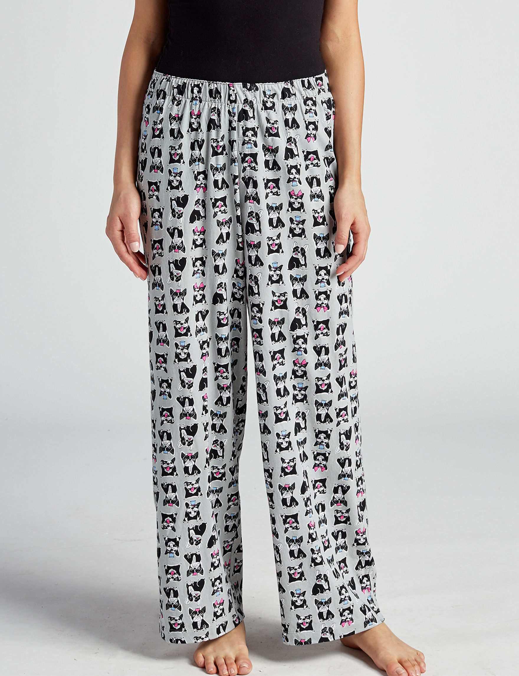 Hue Grey Multi Pajama Bottoms