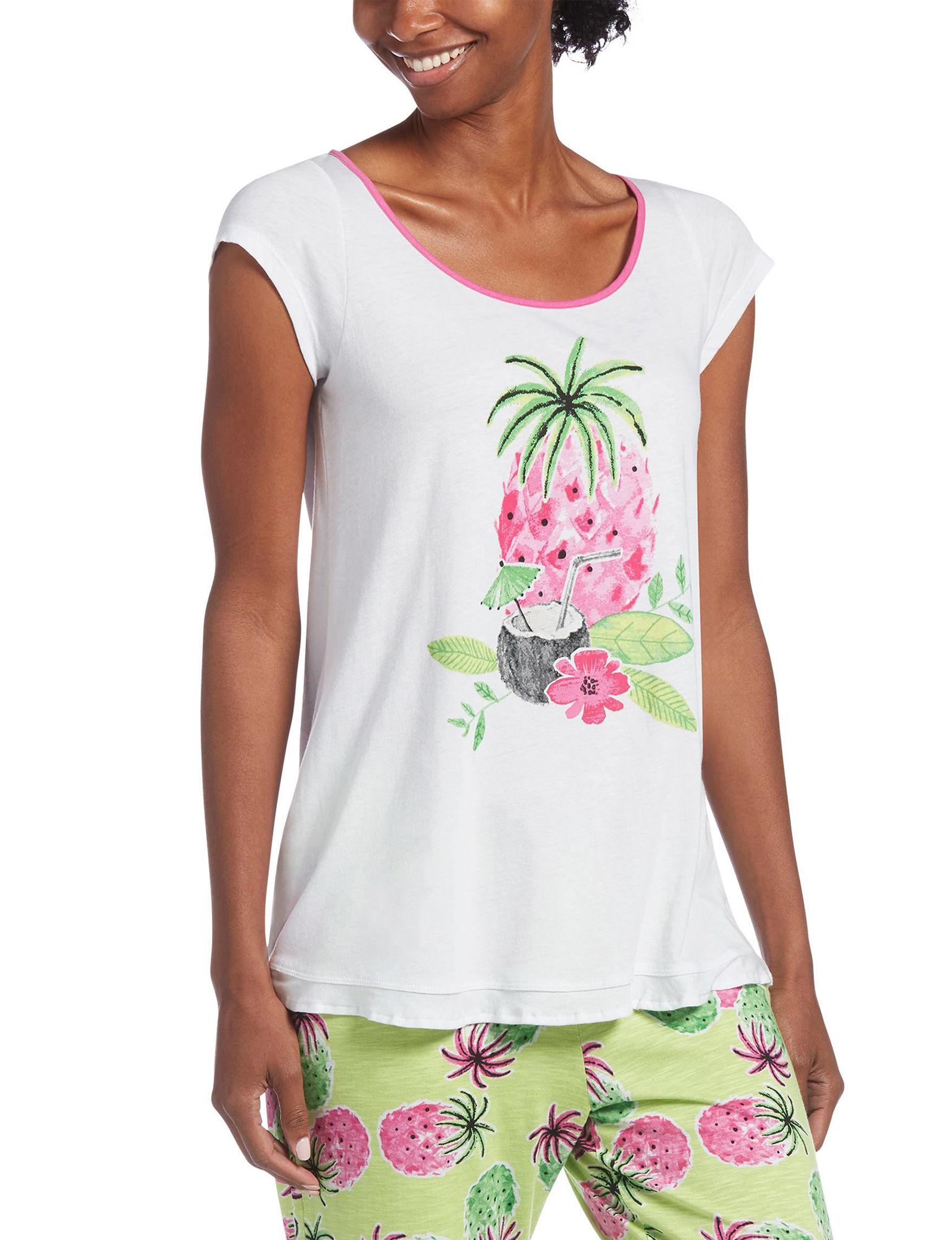 Hue White Pajama Tops