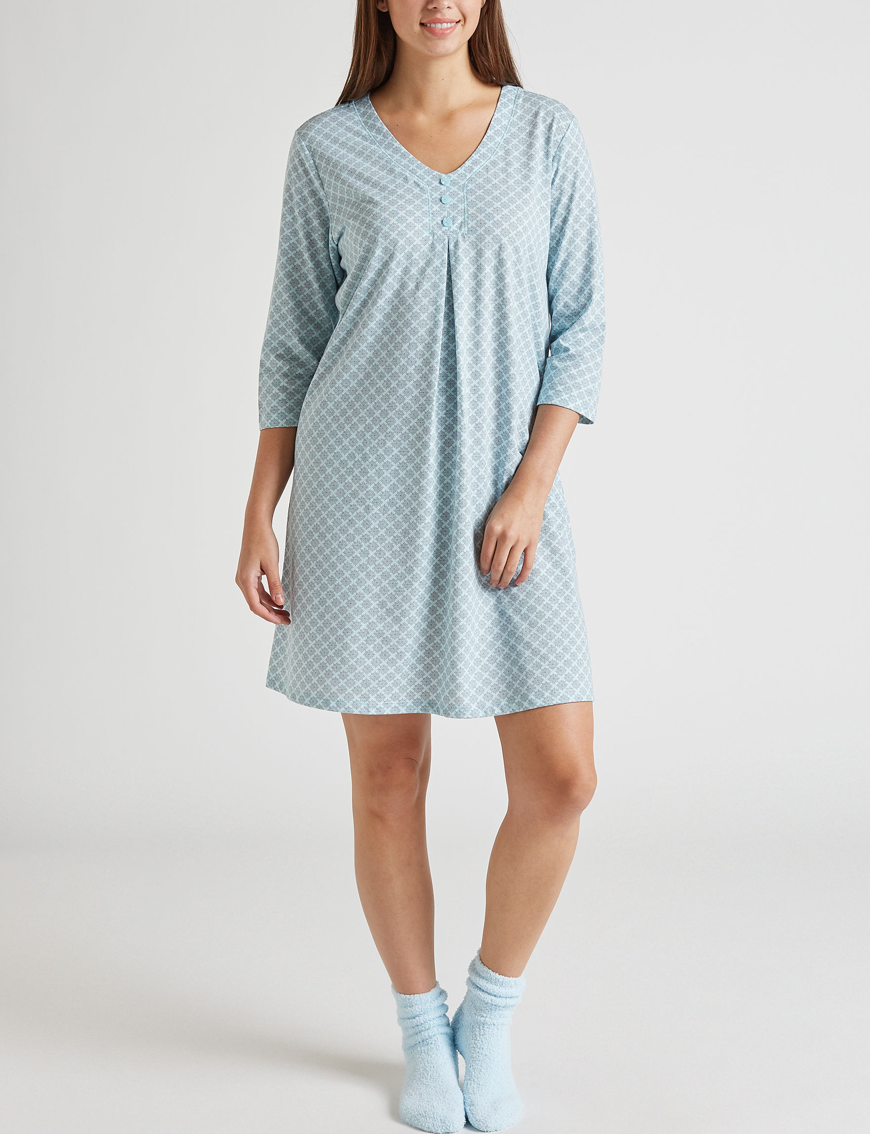 White Orchid Blue Nightgowns & Sleep Shirts