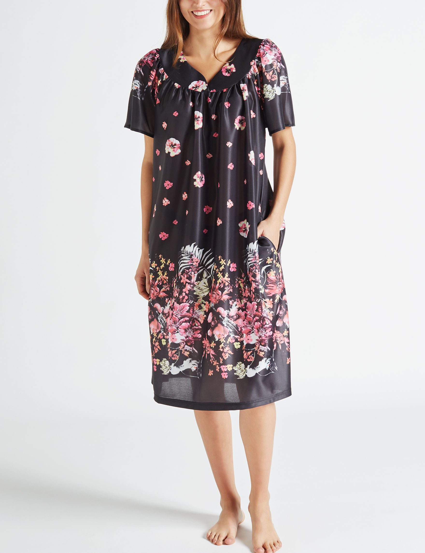 Lissome Black Floral House Dresses