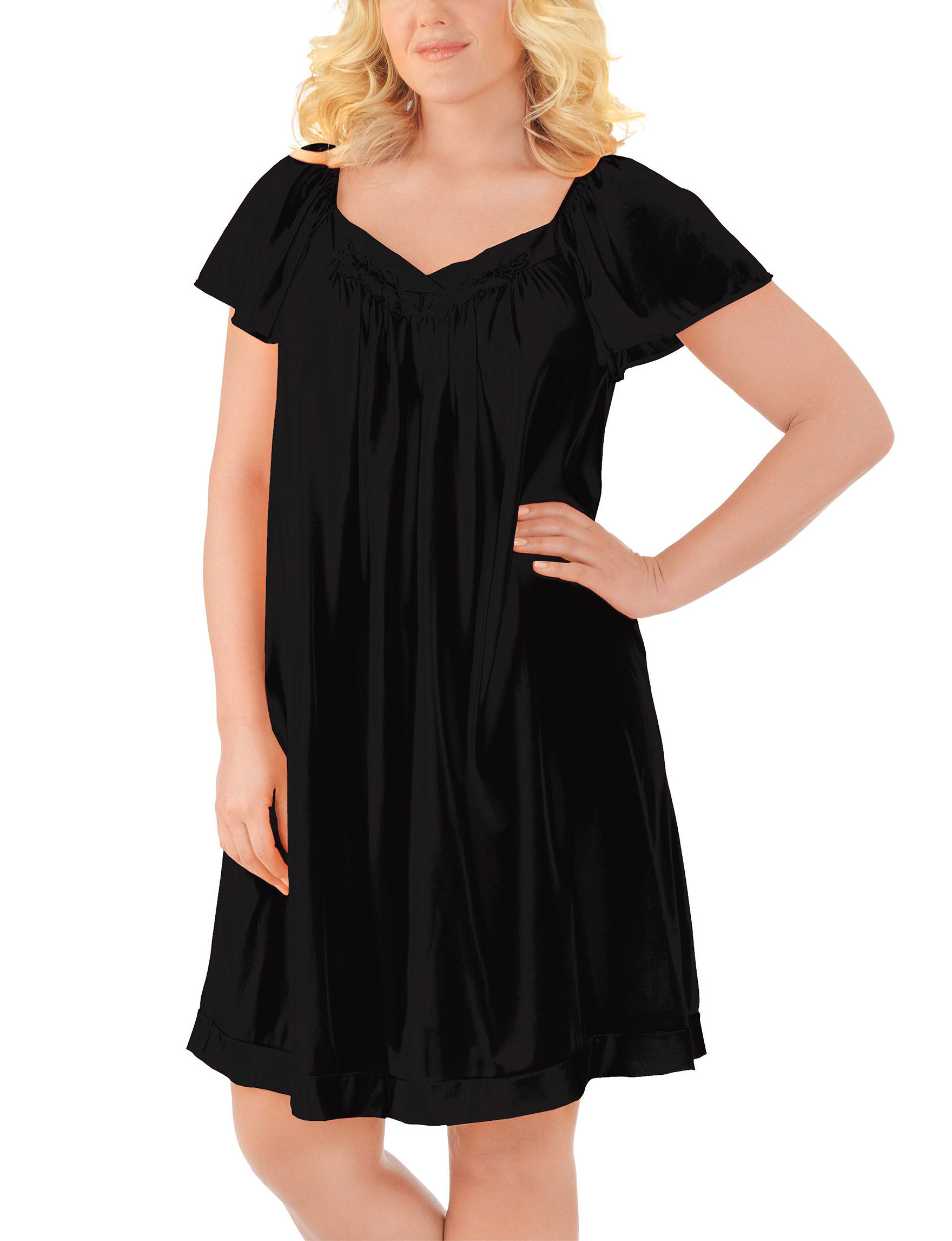 Exquisite Form Black Nightgowns & Sleep Shirts