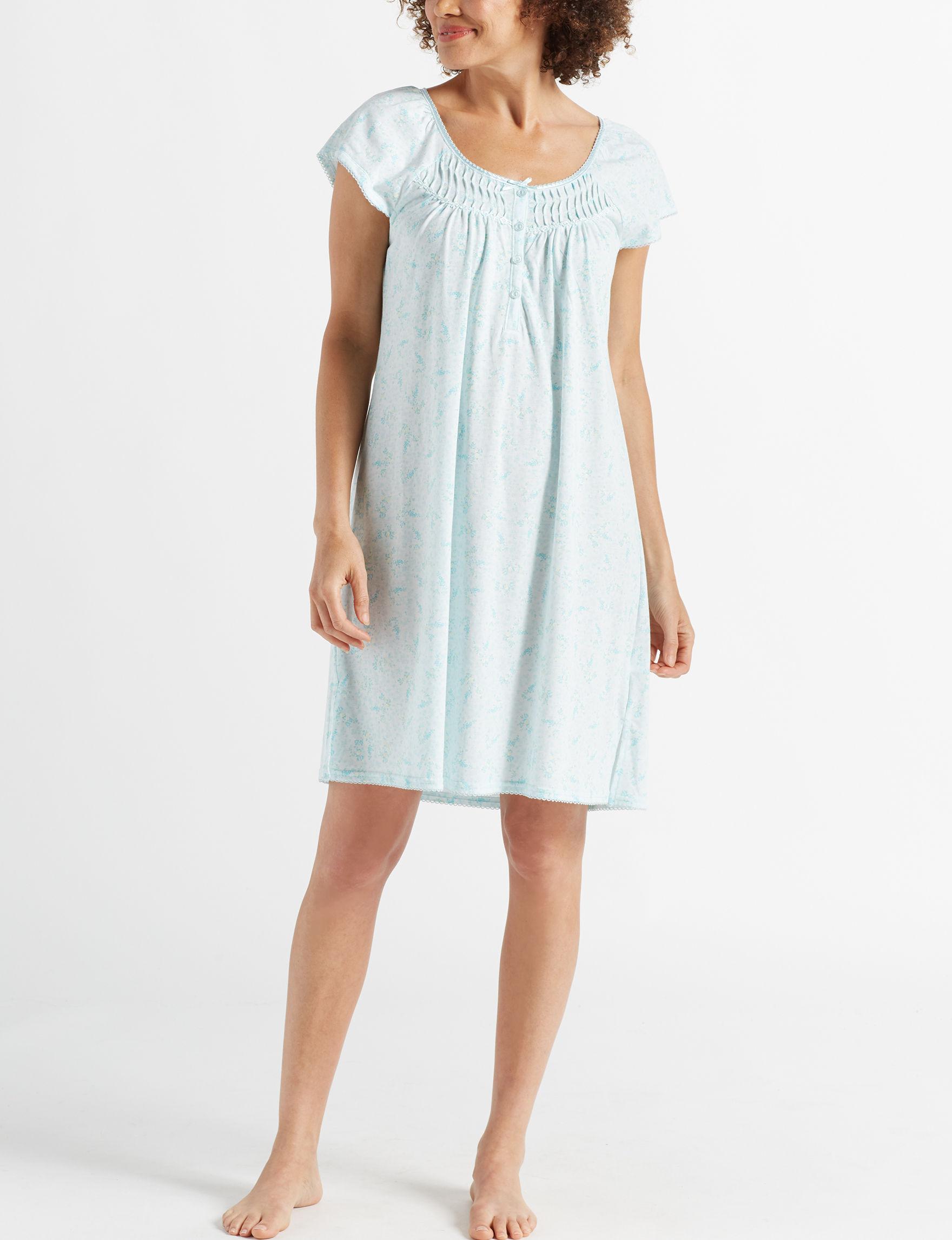 Miss Elaine Blue Floral Nightgowns & Sleep Shirts