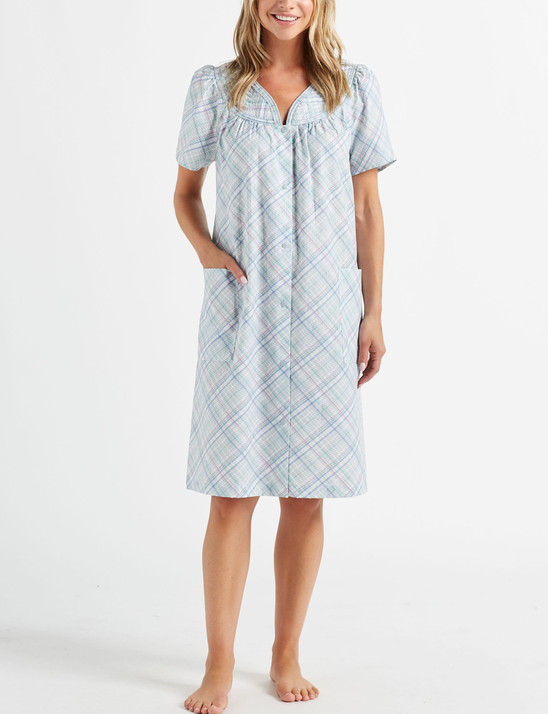 Lissome Blue Plaid Robes, Wraps & Dusters
