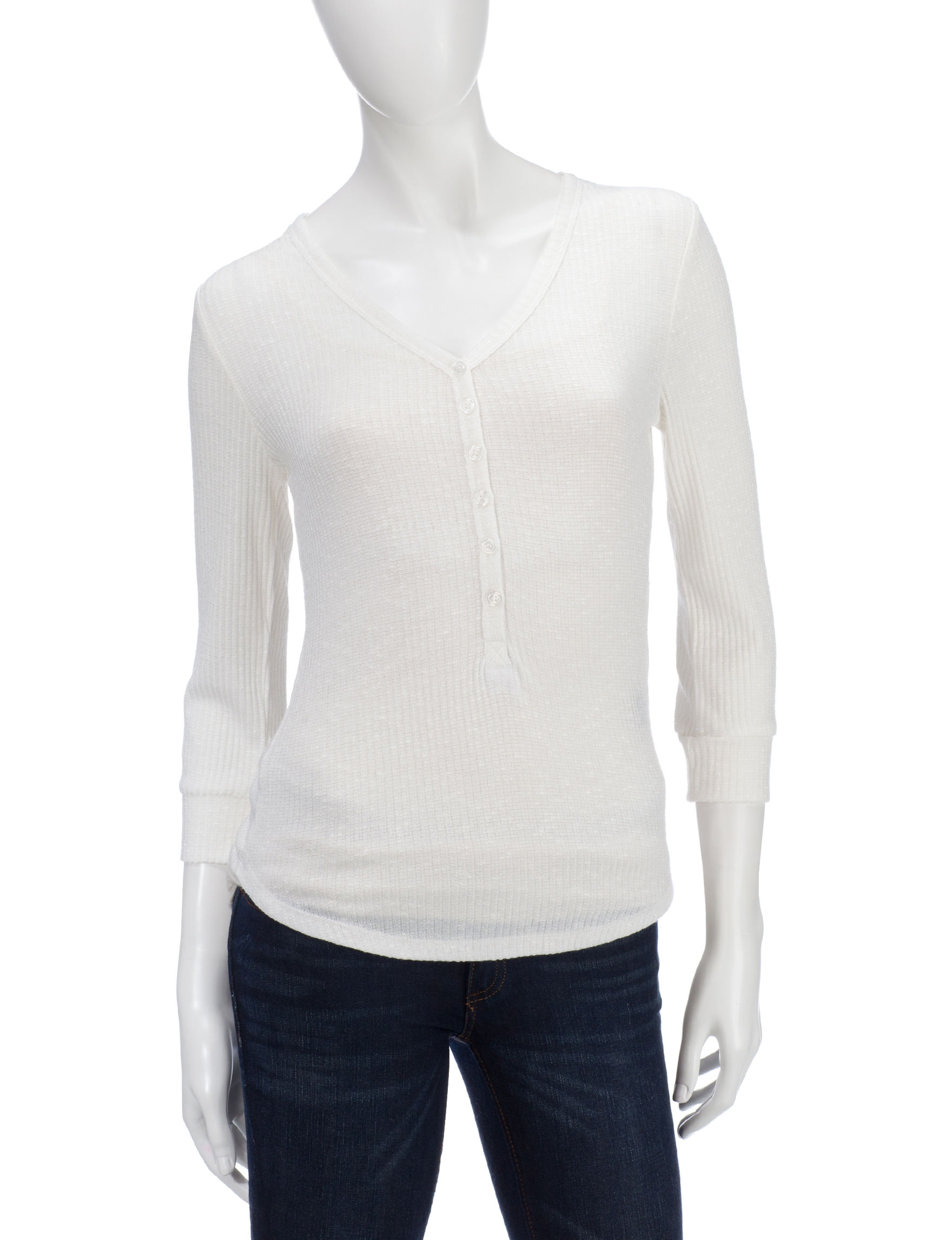 Almost Famous Cream Shirts & Blouses