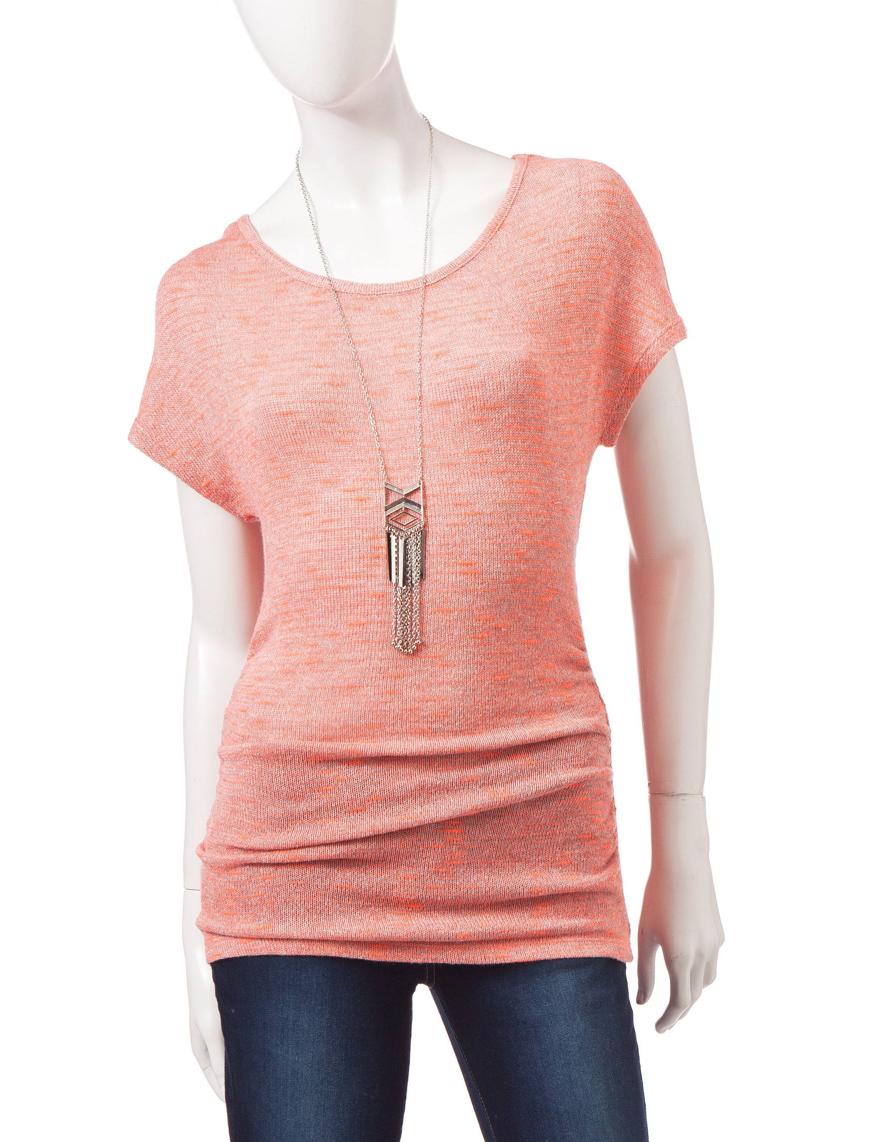 Heart Soul Bright Orange Shirts & Blouses
