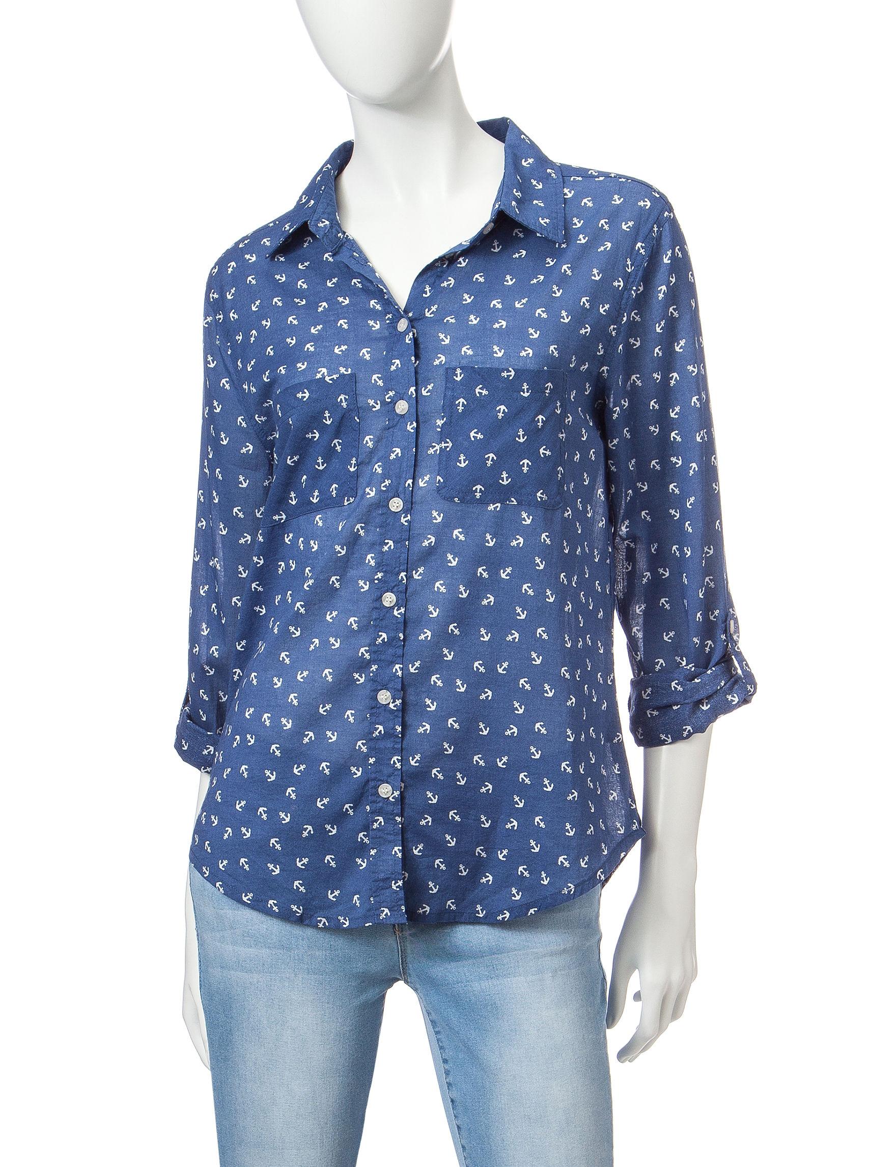 Wishful Park Blue Anchor Casual Button Down Shirts