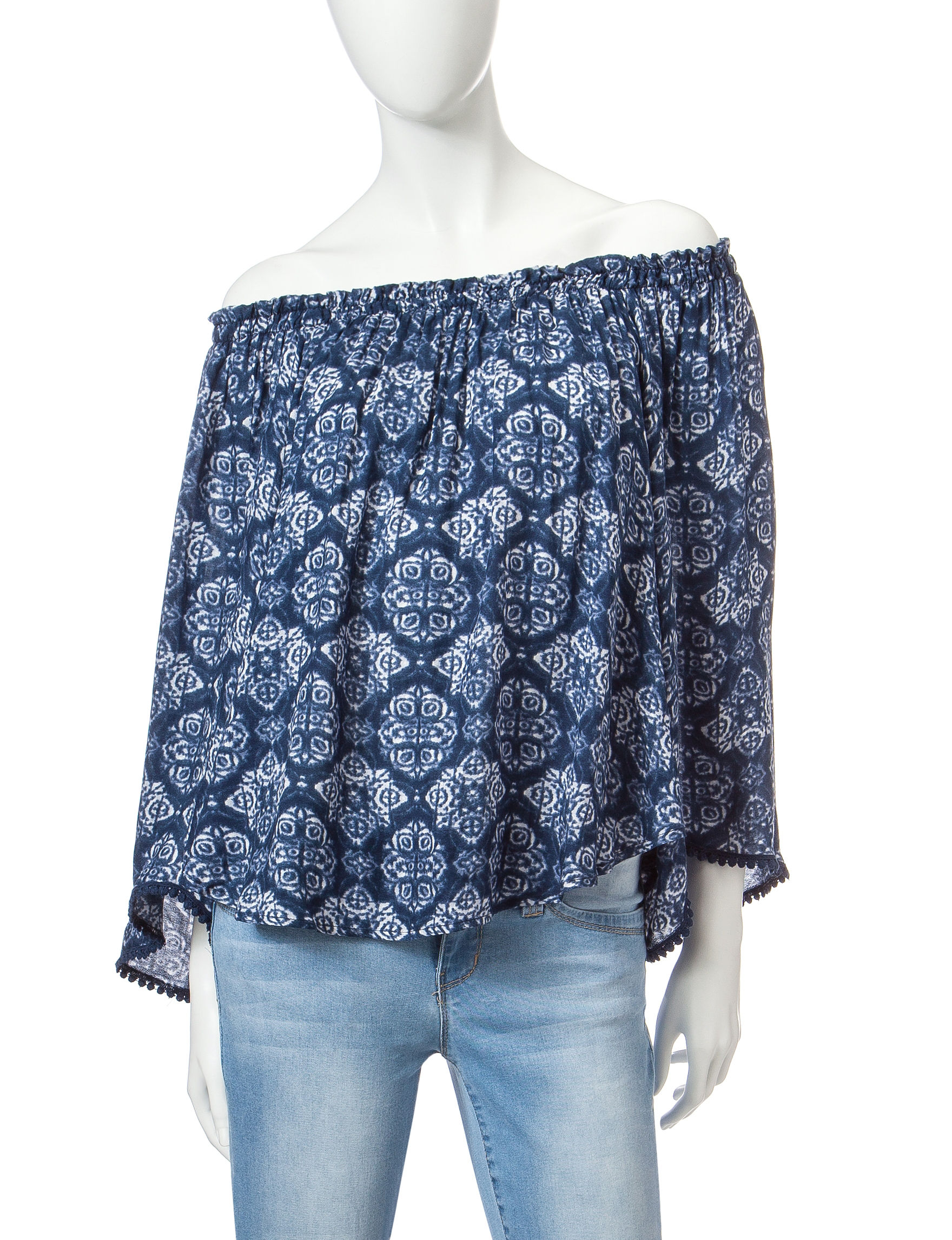 Taylor & Sage Dark Blue Shirts & Blouses