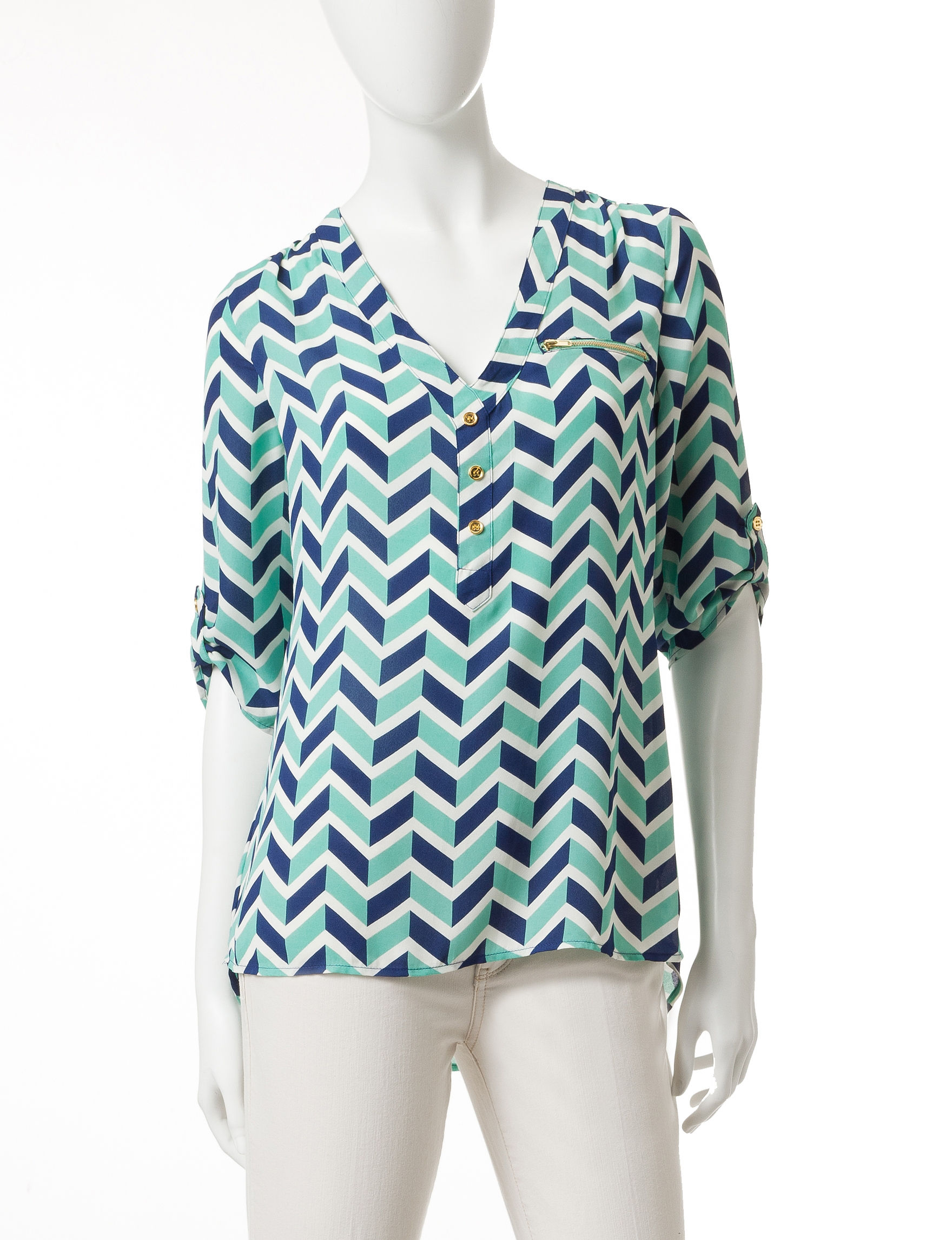 Wishful Park Green/Blue Shirts & Blouses