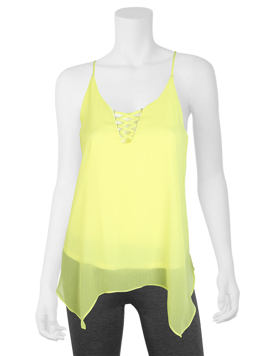 A. Byer Bright Green Tees & Tanks
