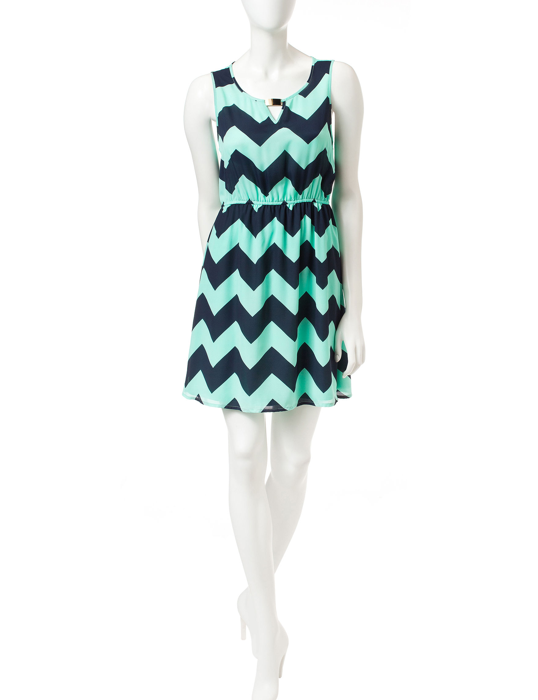Justify Blue / Green Fit & Flare Dresses