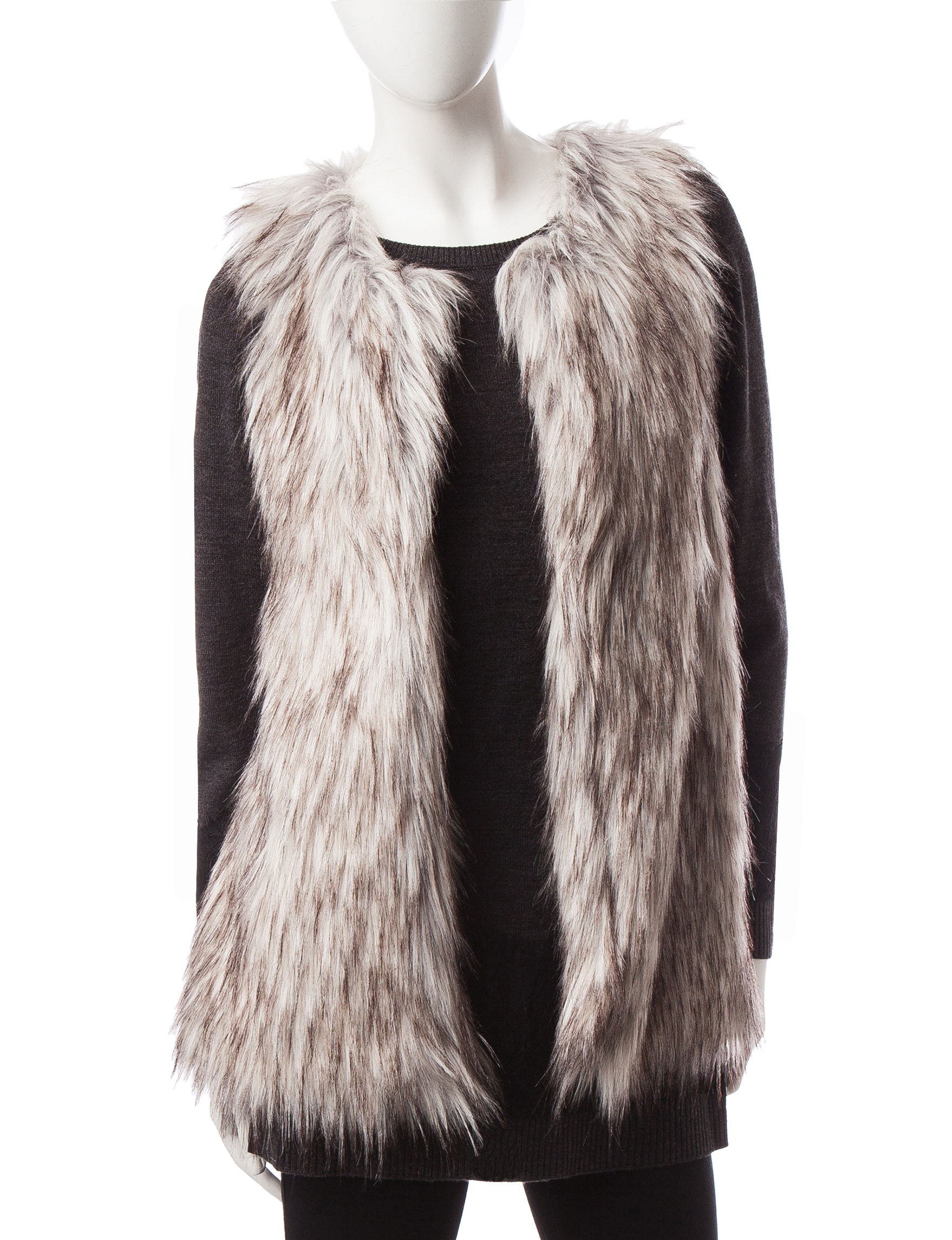 Available In Mauve,Sage,Ivory And Gray Open Front Sleeveless Faux Fur % Polyester.