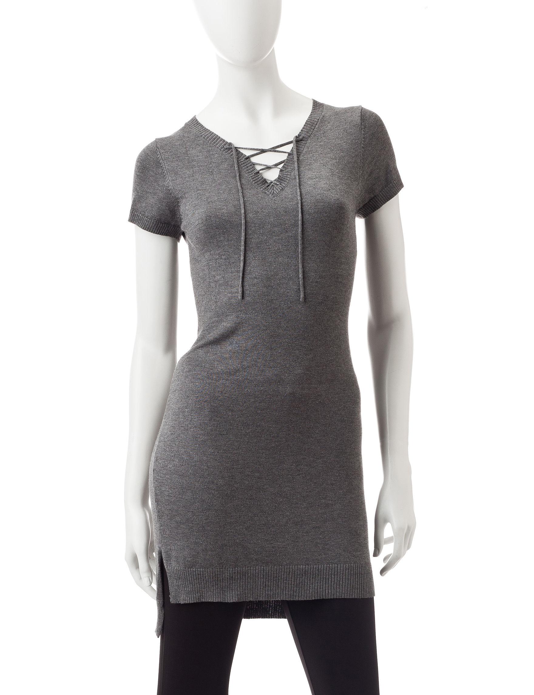 Made for Me to Look Amazing Dark Heather Grey Tunics