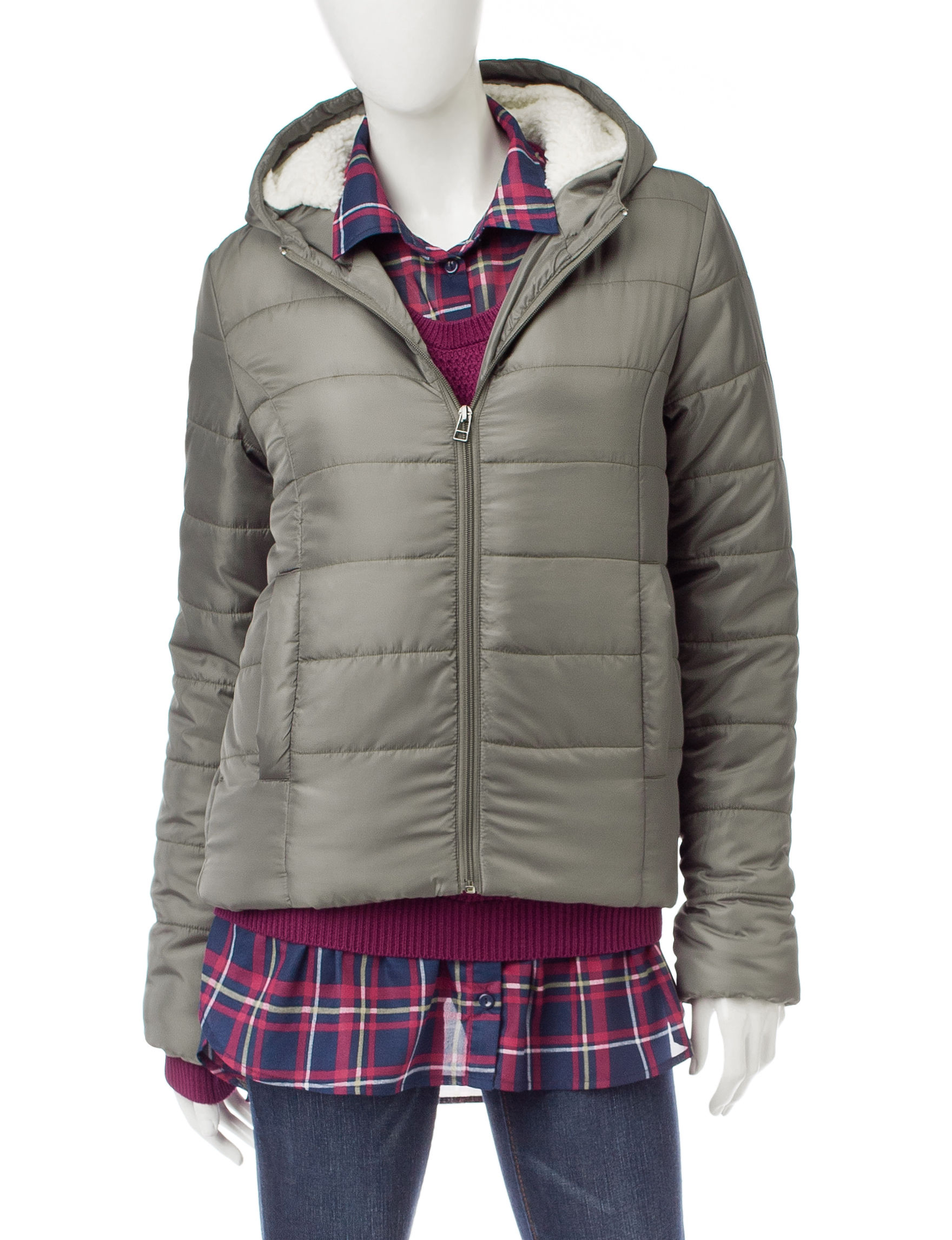 Justify Olive Puffer & Quilted Jackets