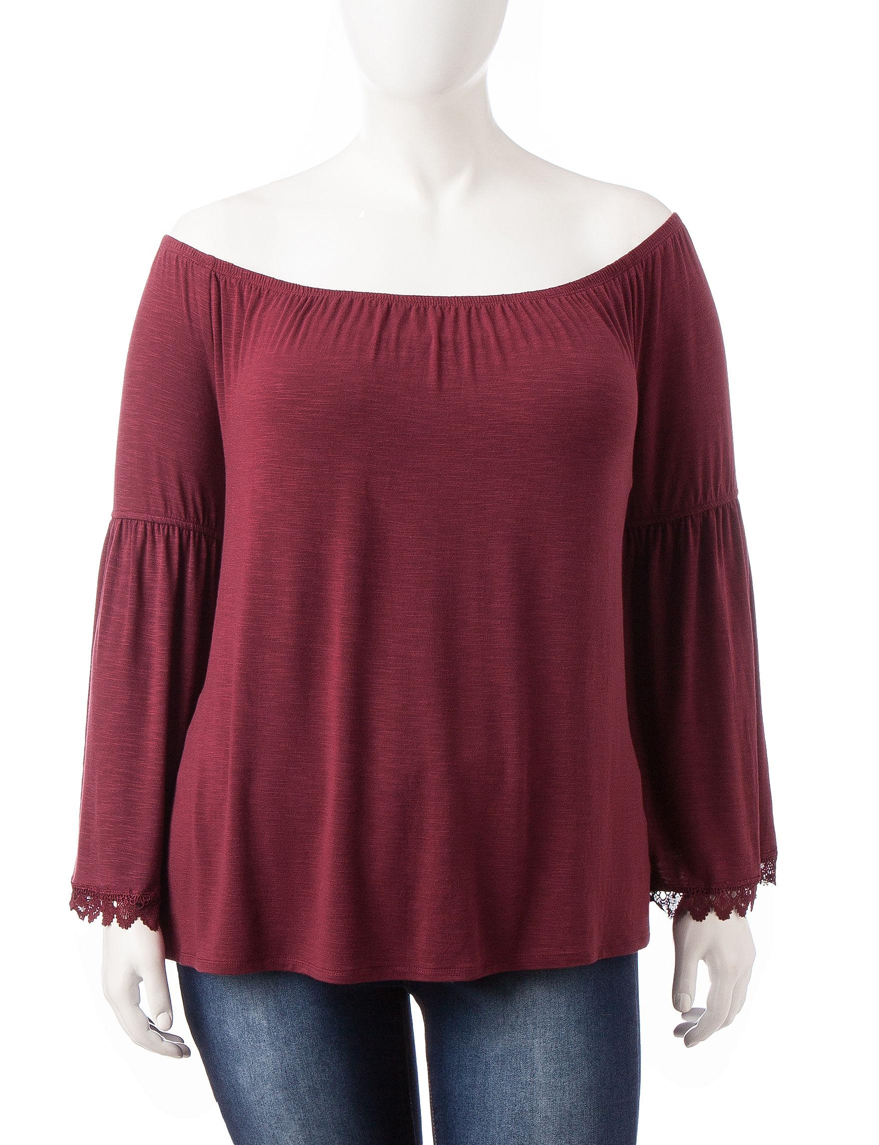 Heart Soul Burgundy Shirts & Blouses