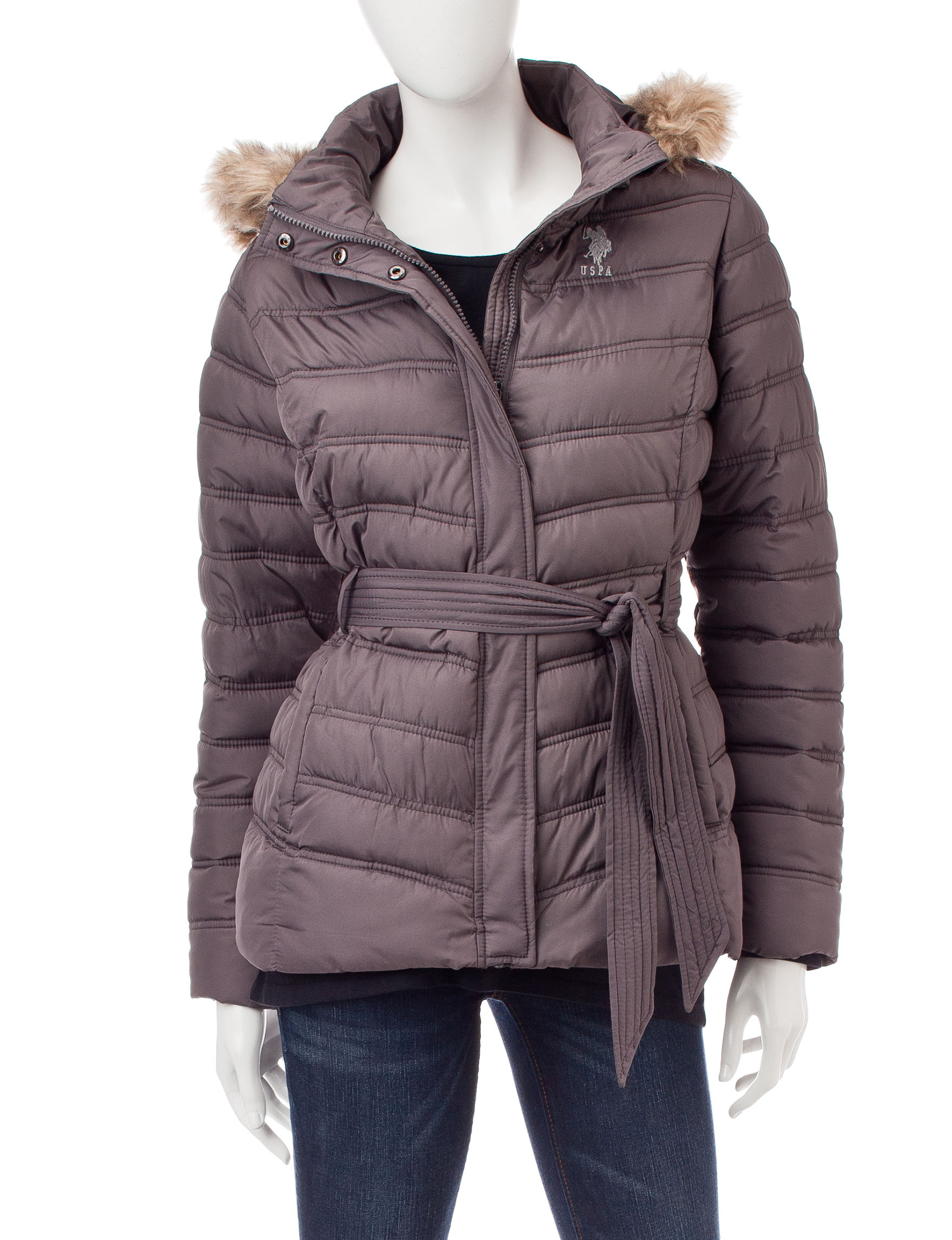 U.S. Polo Assn. Gray Puffer & Quilted Jackets
