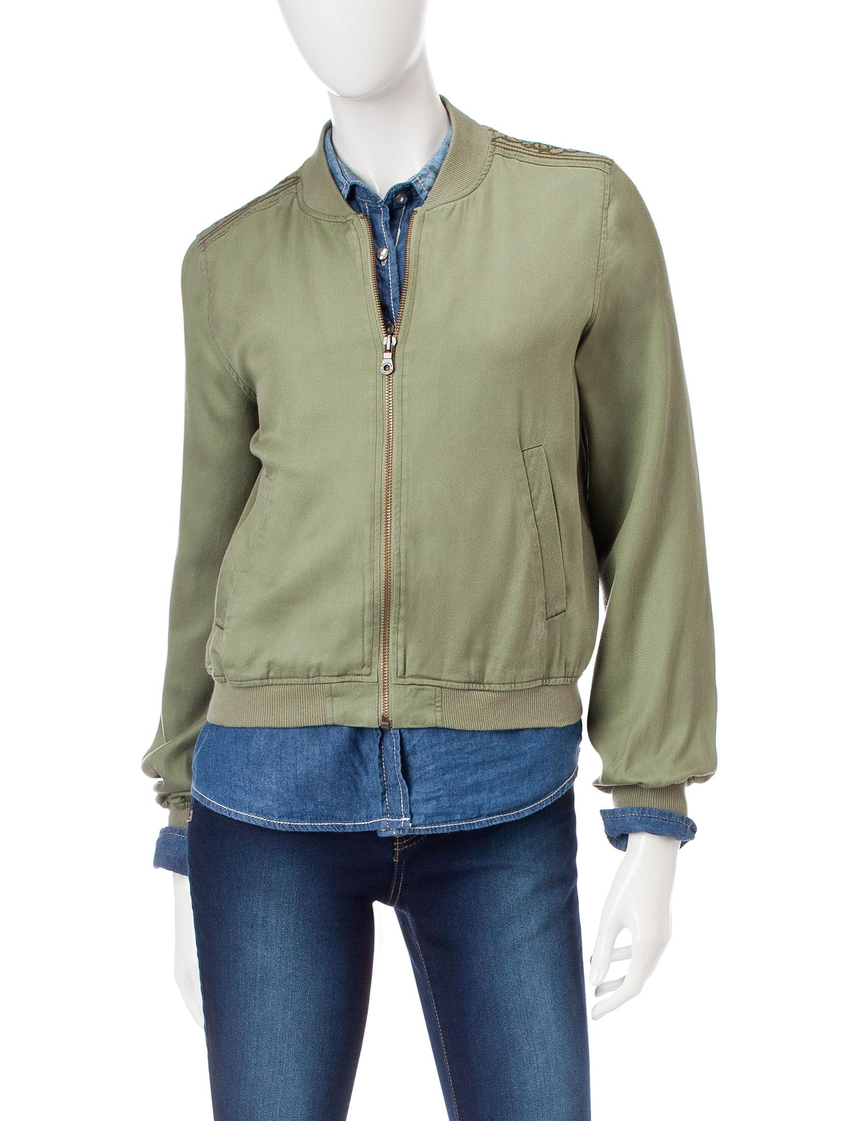 Jessica Simpson Green Bomber & Moto Jackets