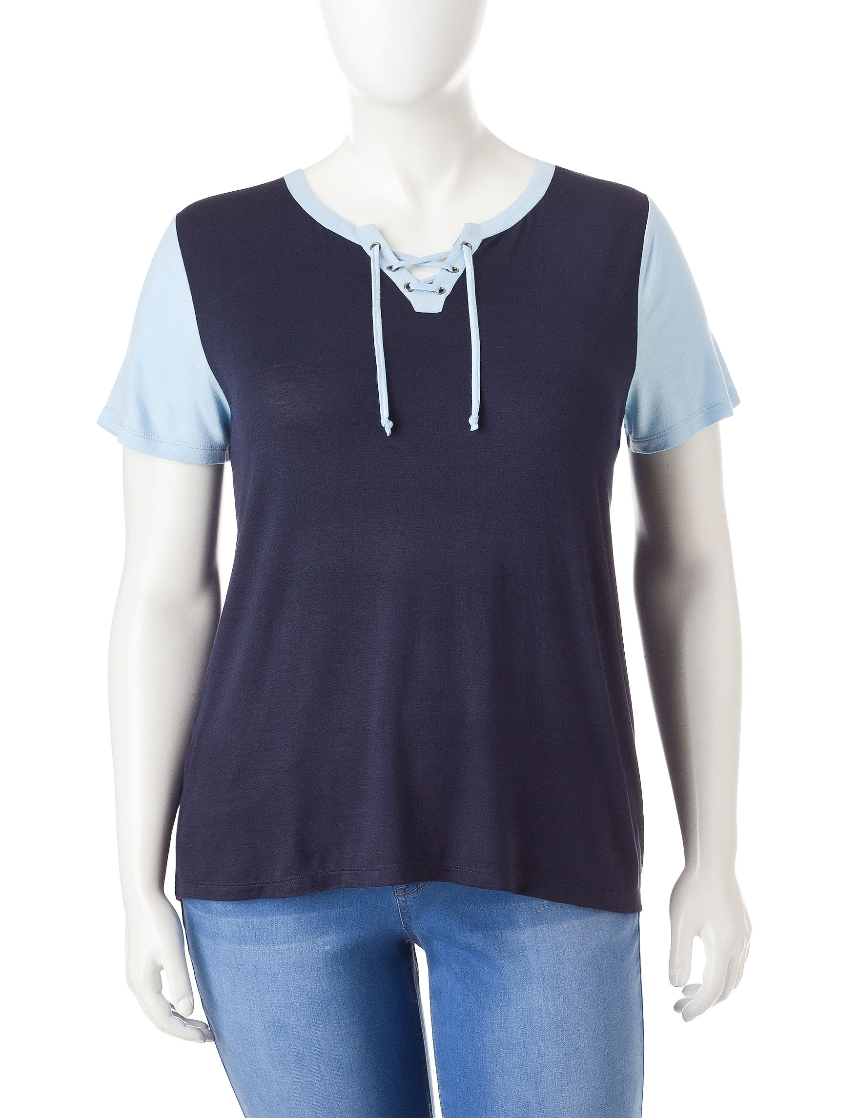 Extra Touch Navy Shirts & Blouses