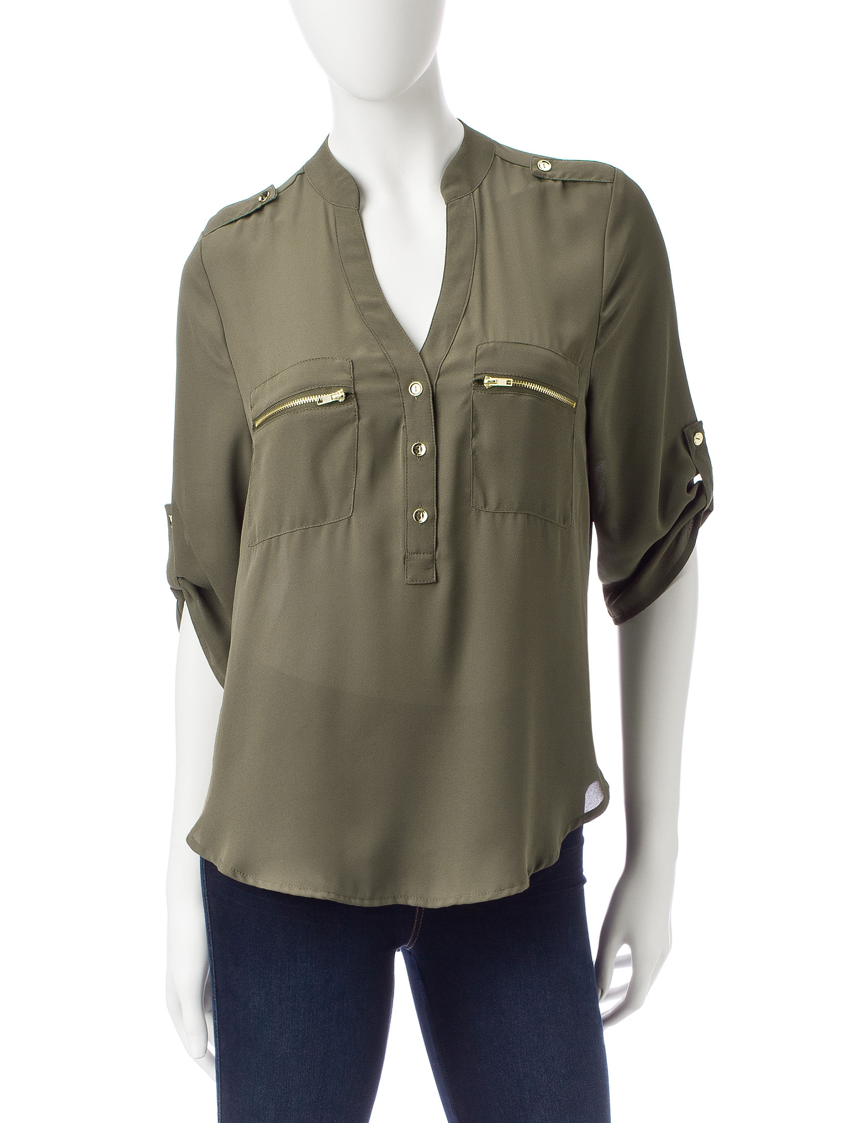 Wishful Park Olive Green Shirts & Blouses