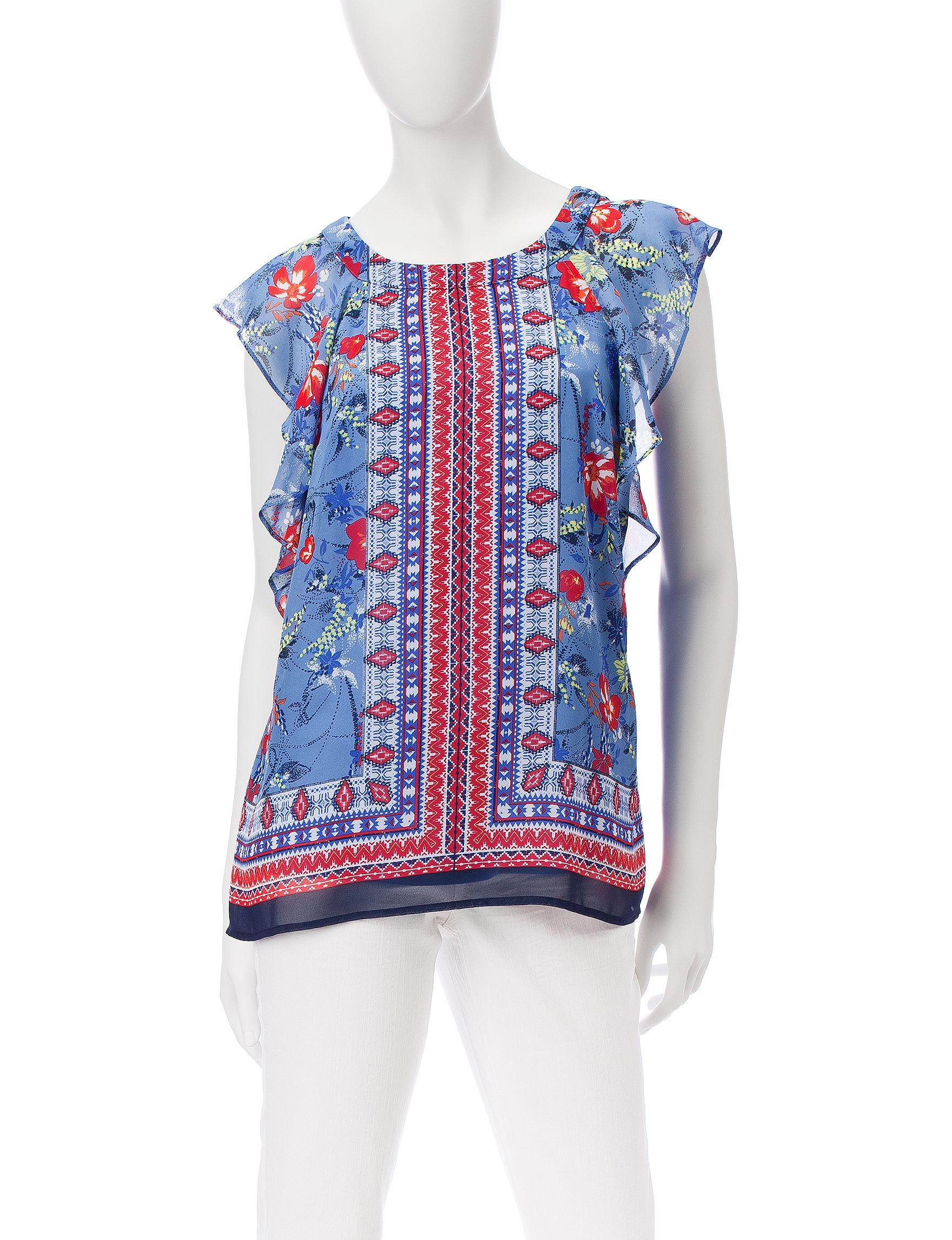 AGB Blue Multi Shirts & Blouses