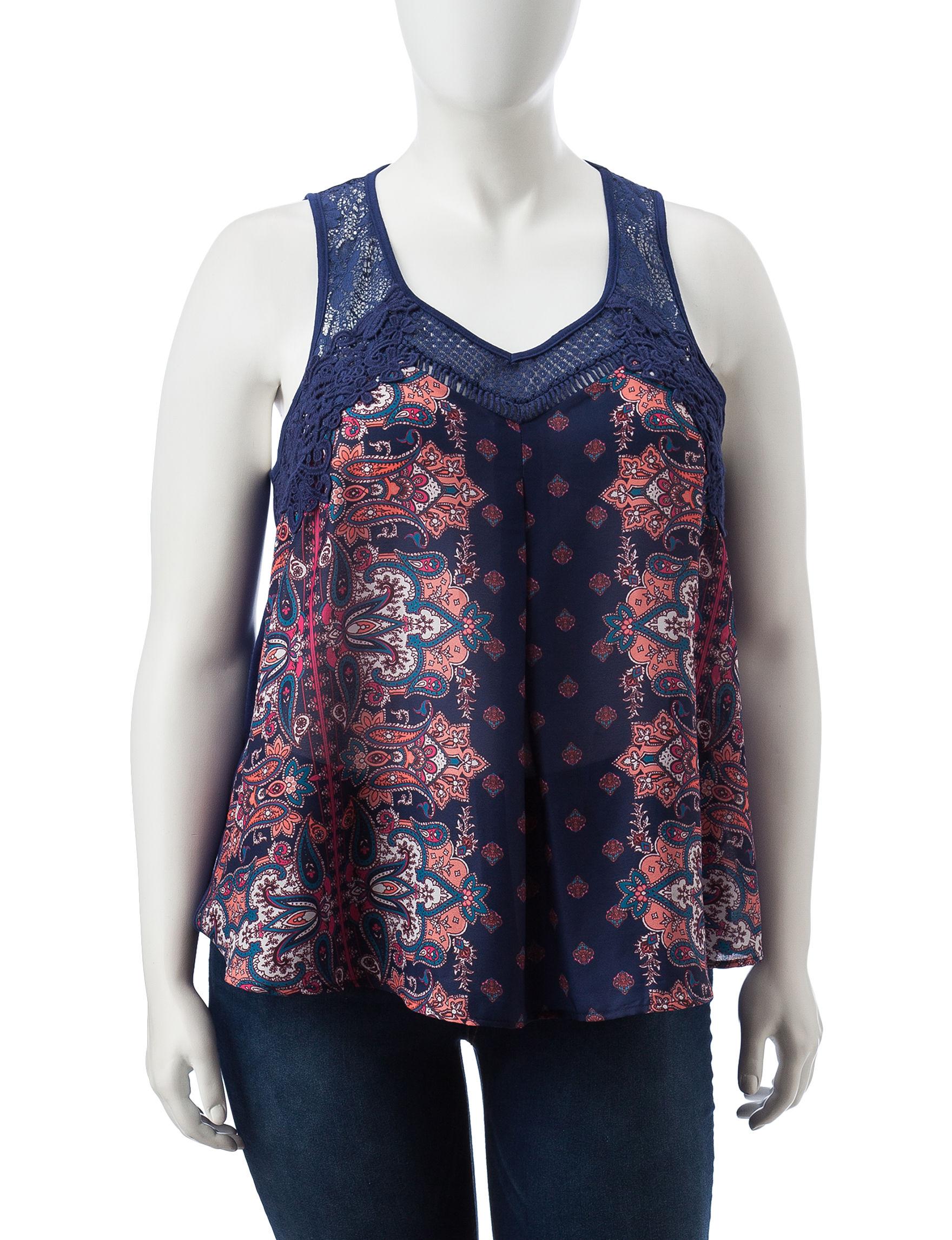 Taylor & Sage Blue Paisley Shirts & Blouses Tees & Tanks