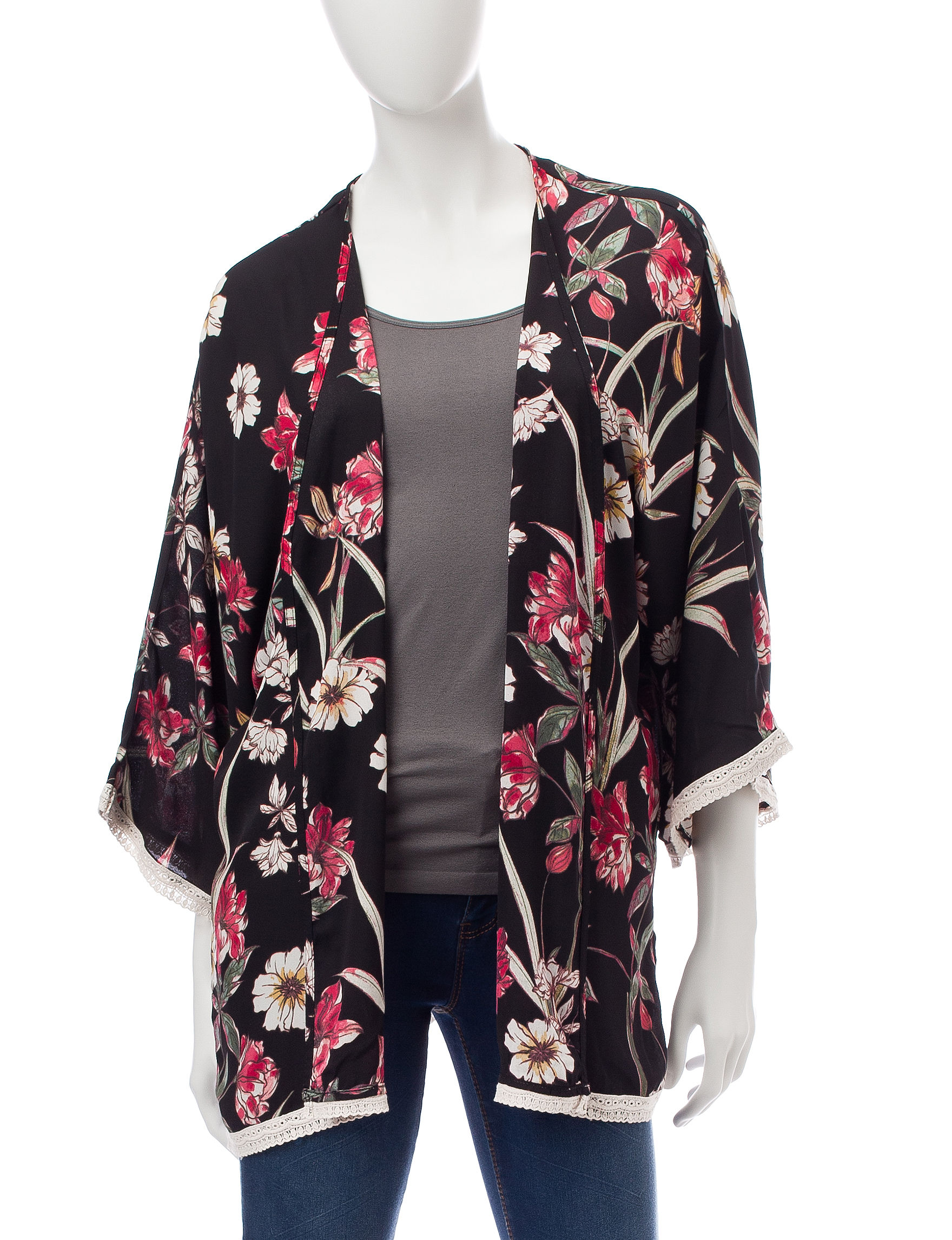 Wishful Park Black Floral Kimonos