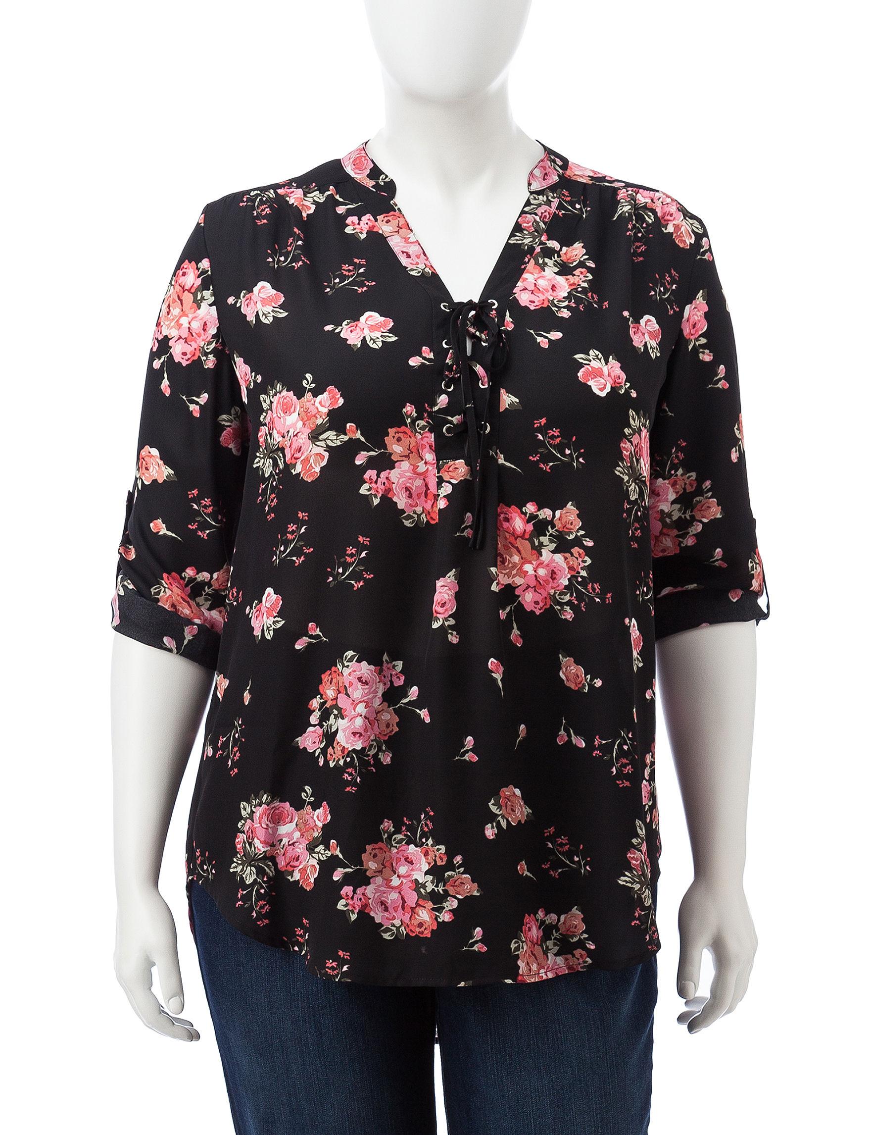 Justify Black Floral Shirts & Blouses