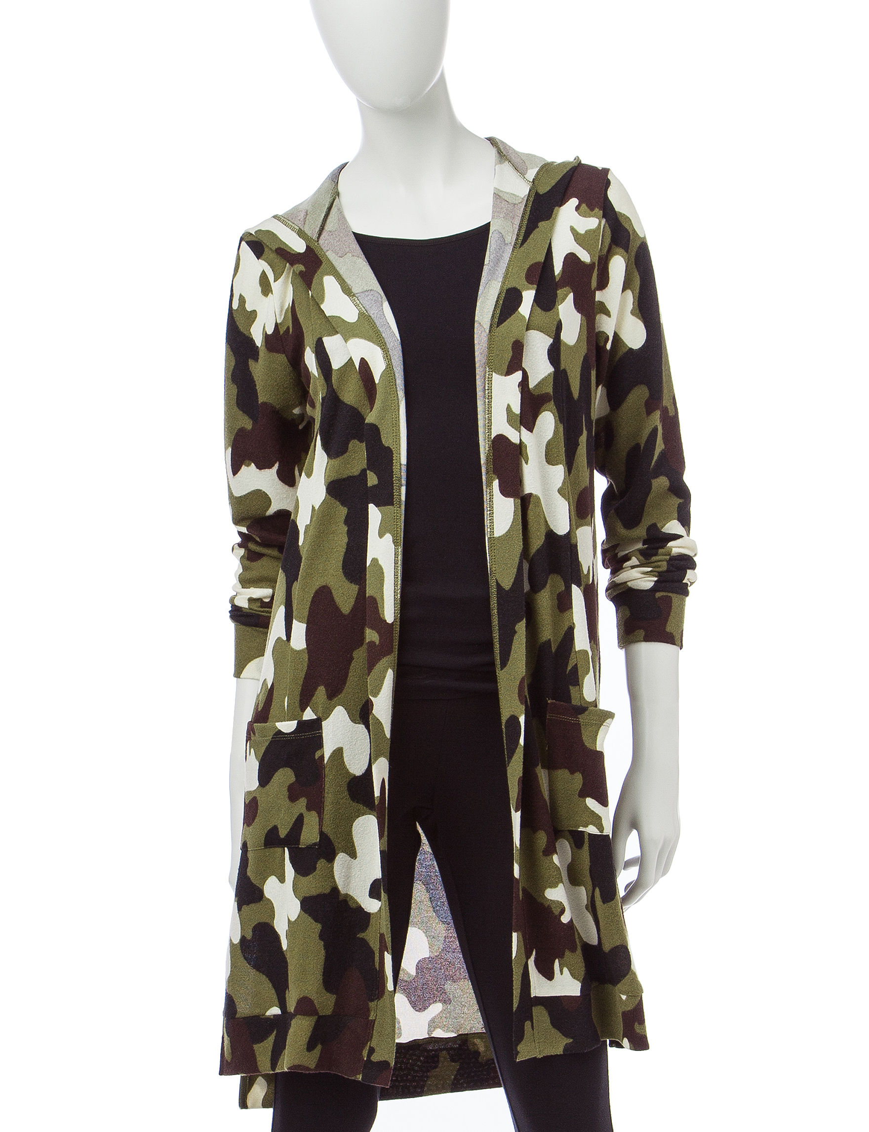 It's Our Time Camo Print Hooded Cardigan | Stage Stores