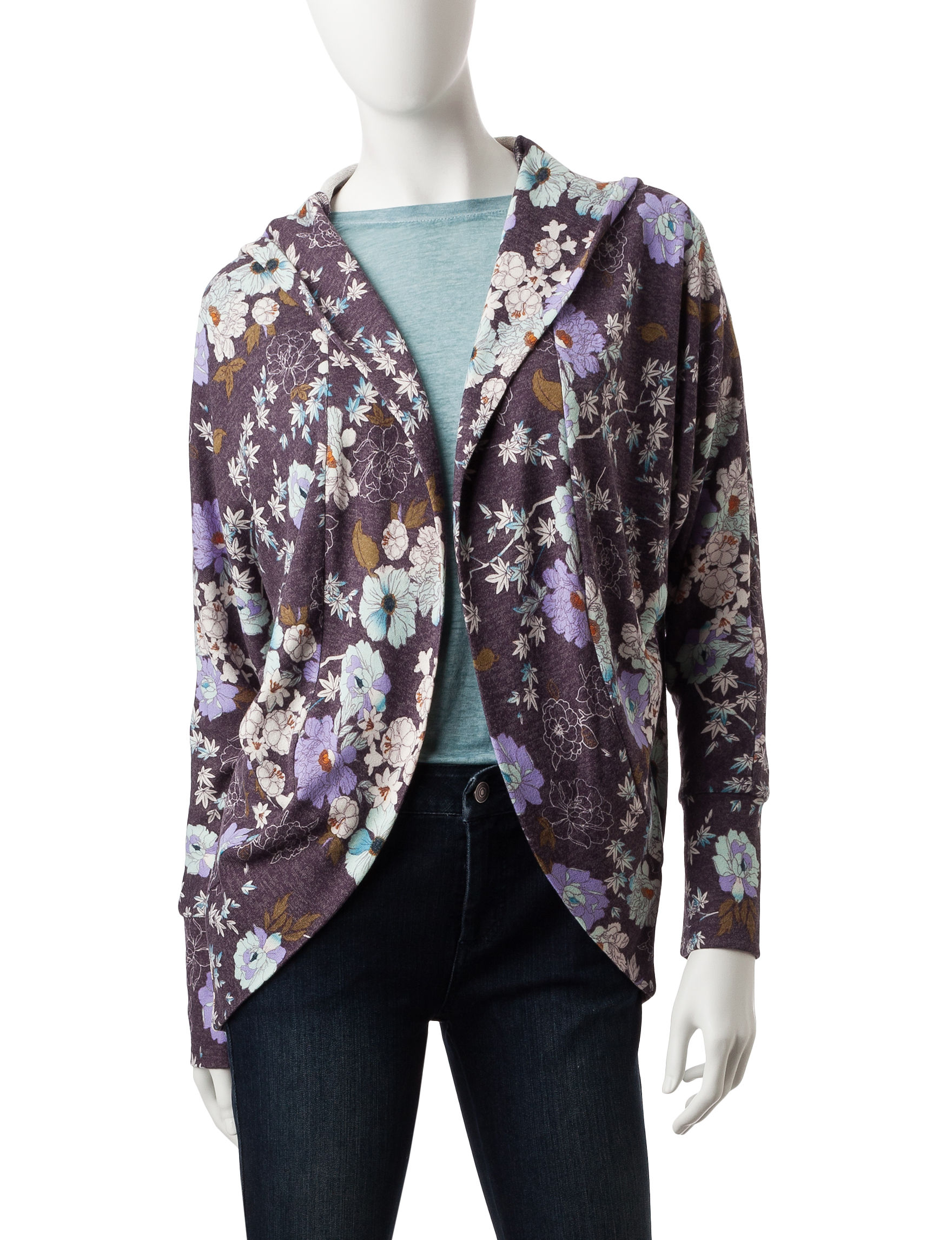 It's Our Time Floral Print Hooded Cardigan | Stage Stores