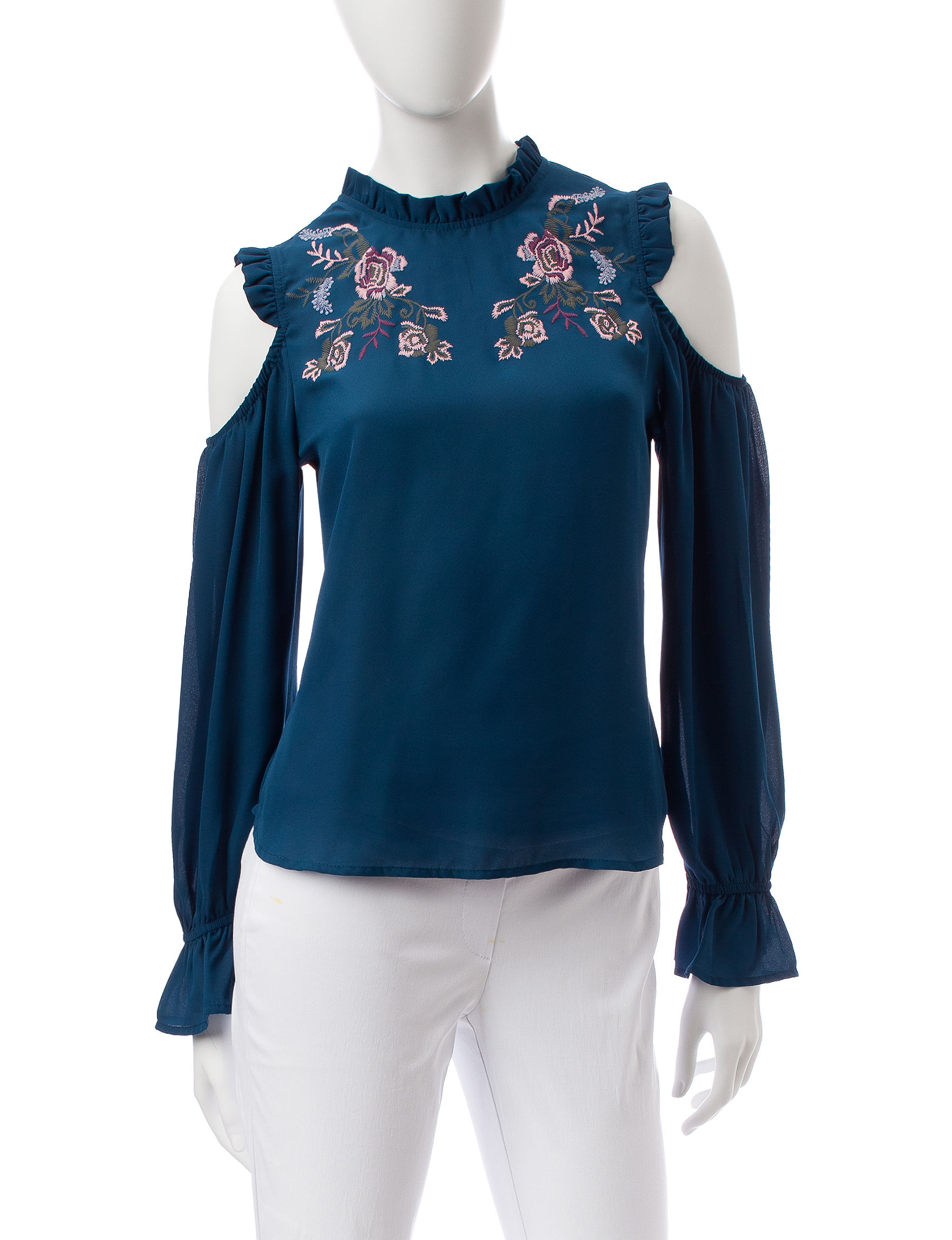 Lily White Blue Shirts & Blouses