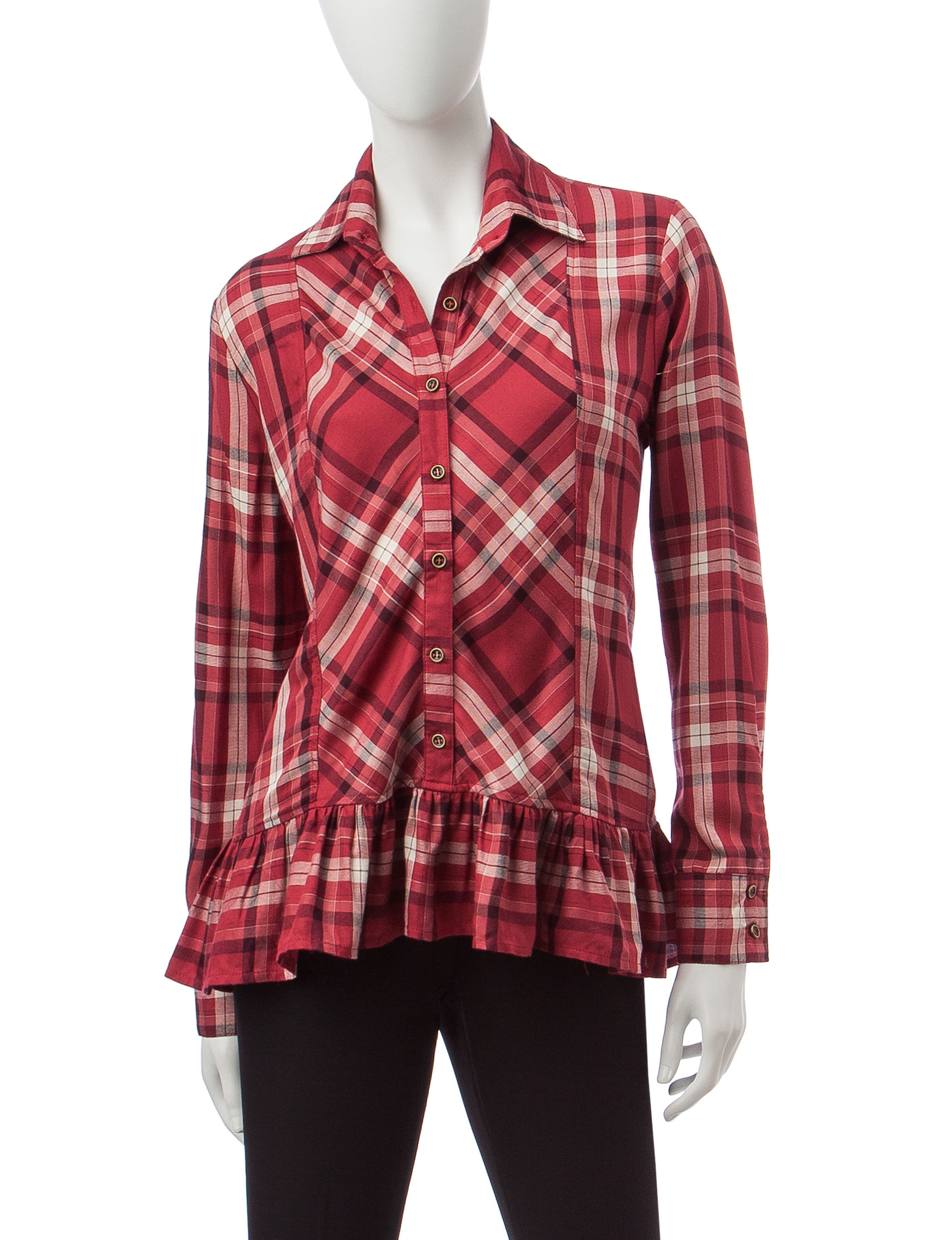 Signature Studio Red Multi Shirts & Blouses