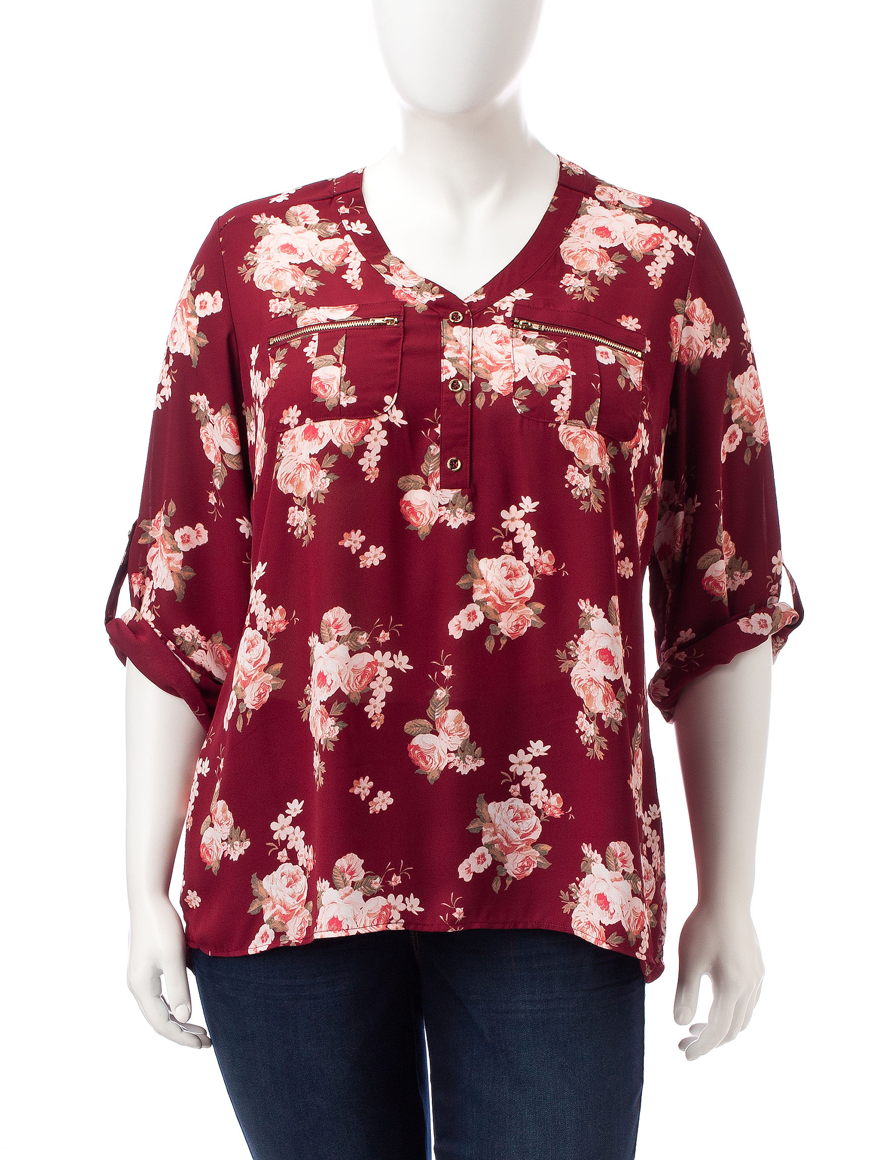 Justify Deep Red Shirts & Blouses