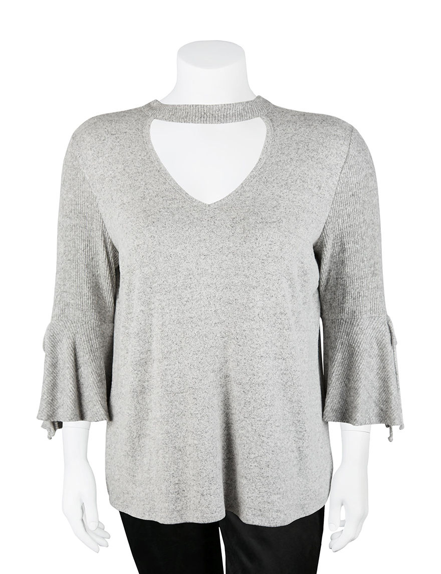 A. Byer Heather Grey Shirts & Blouses