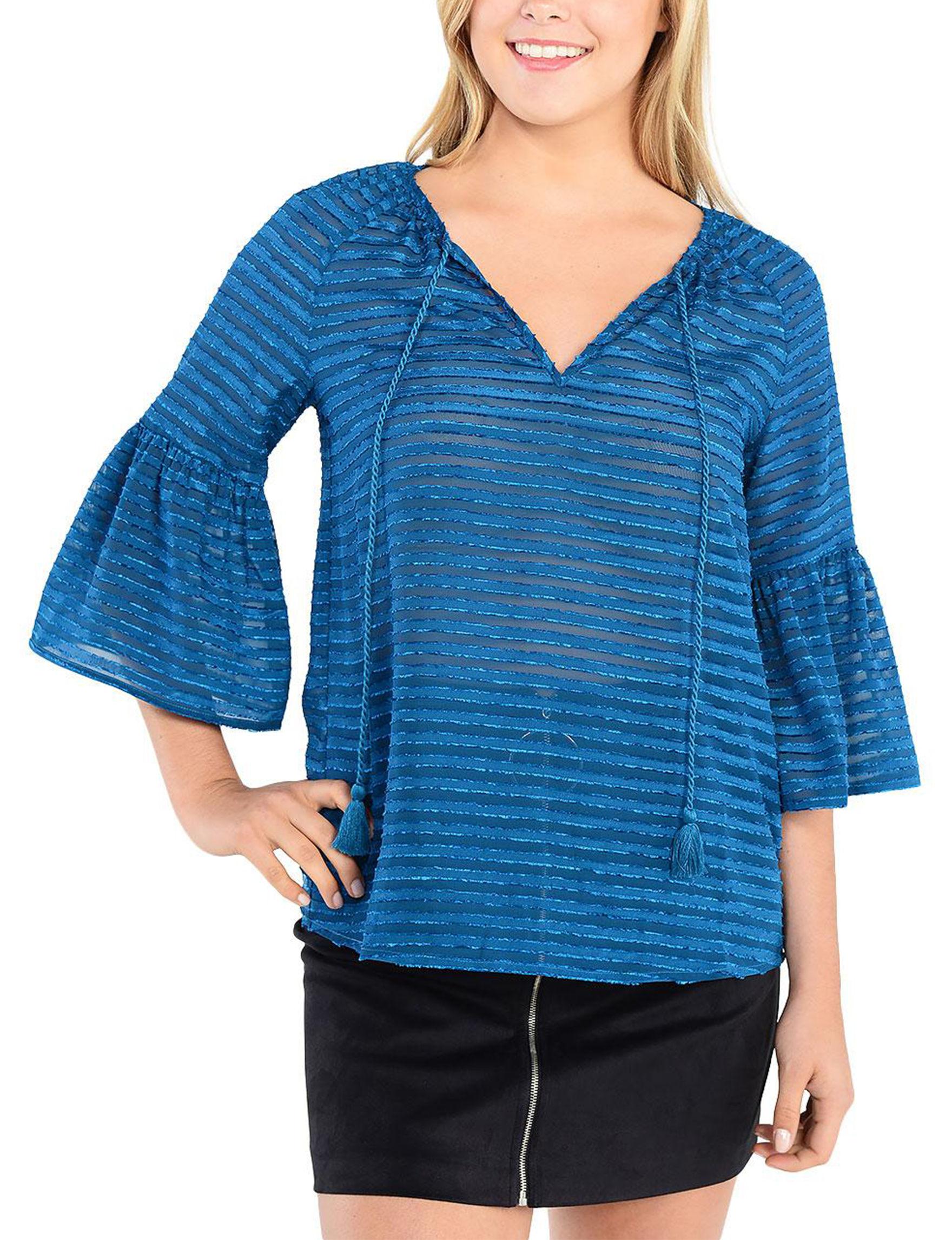 Kensie Blue Shirts & Blouses