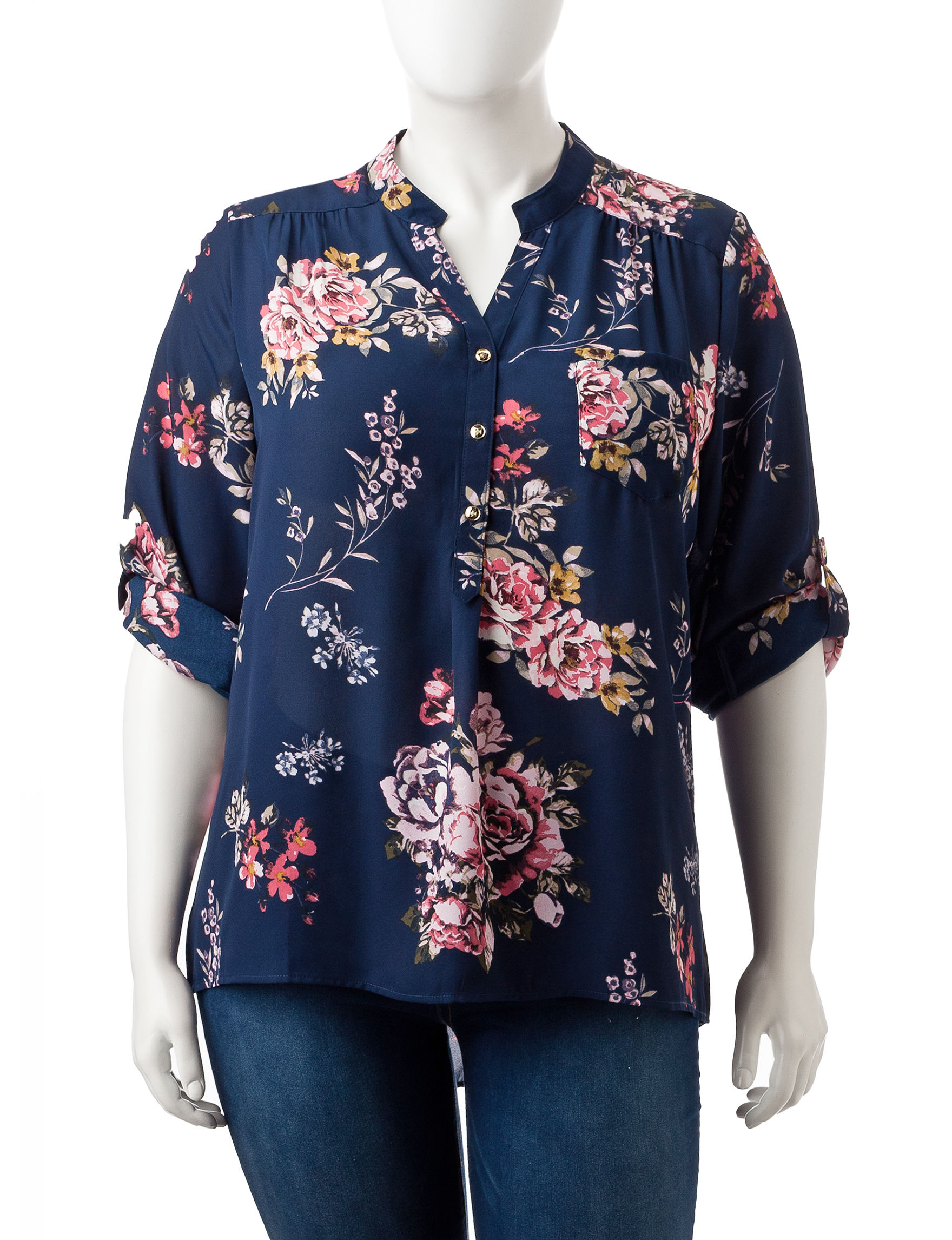 Justify Blue Floral Shirts & Blouses