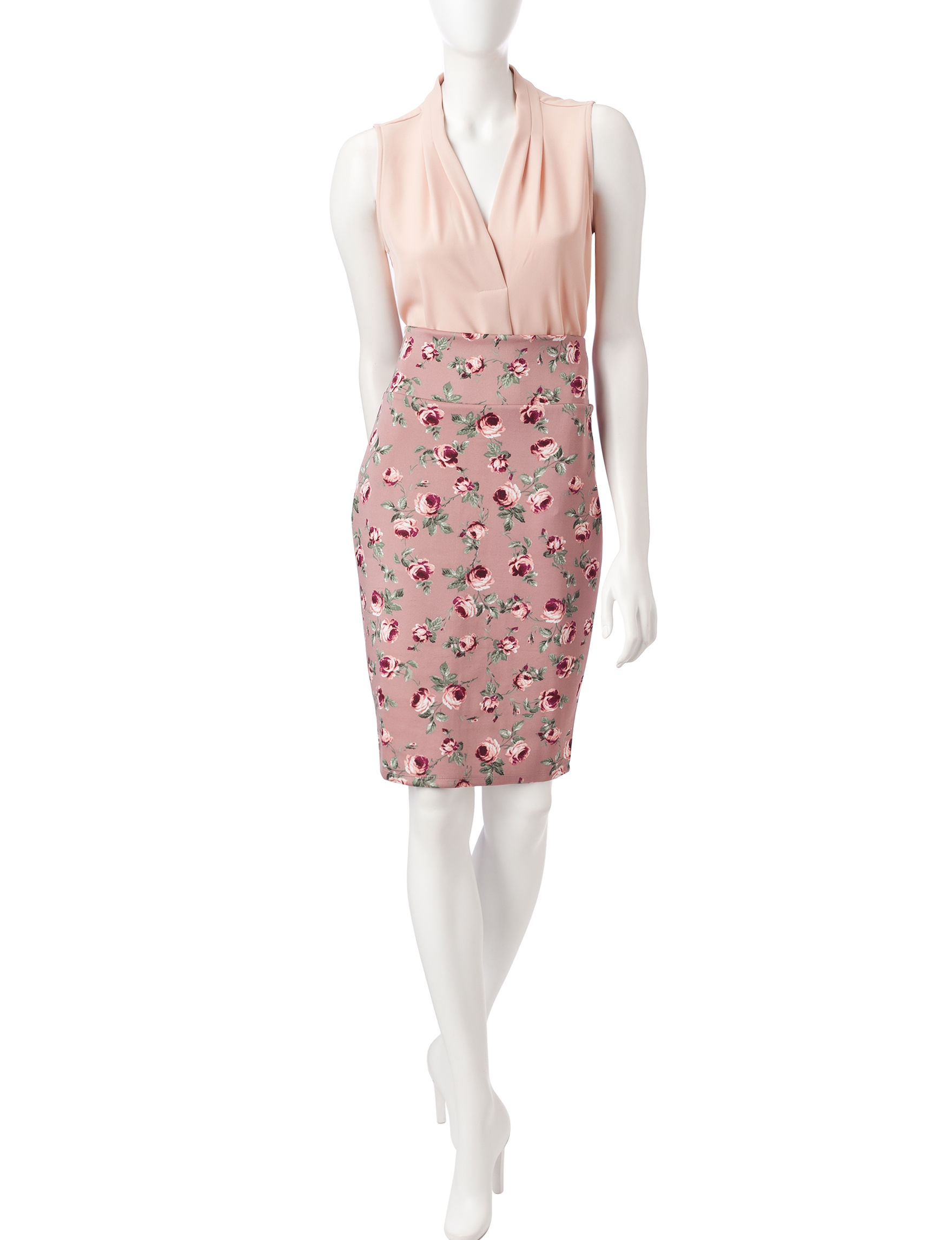 No Comment Pink Floral Slim Straight