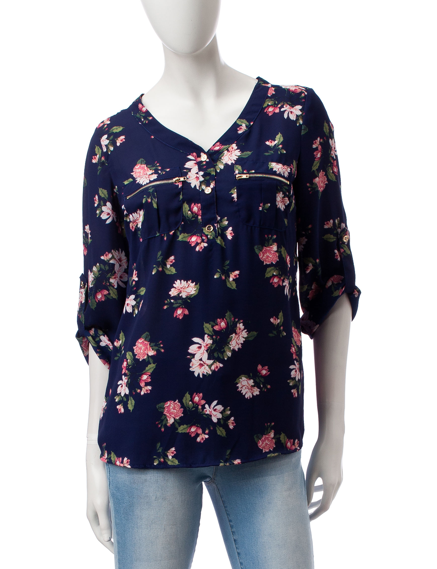 Wishful Park Blue Floral Shirts & Blouses