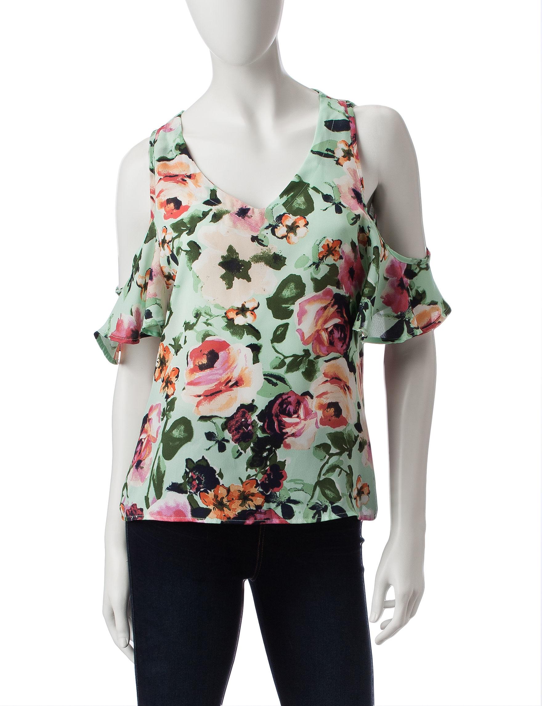 Wishful Park Mint Floral Shirts & Blouses