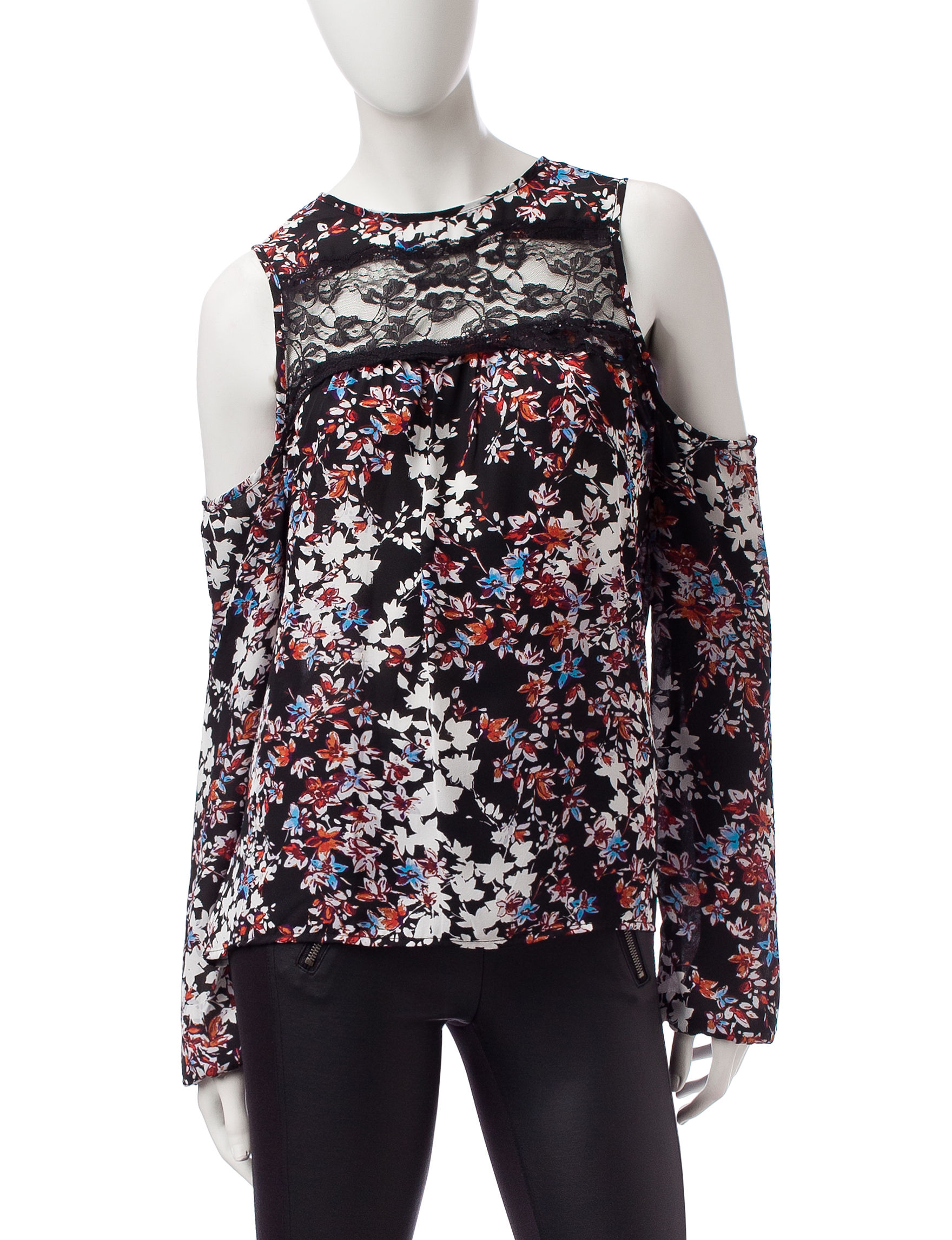 Wishful Park Black Floral Shirts & Blouses