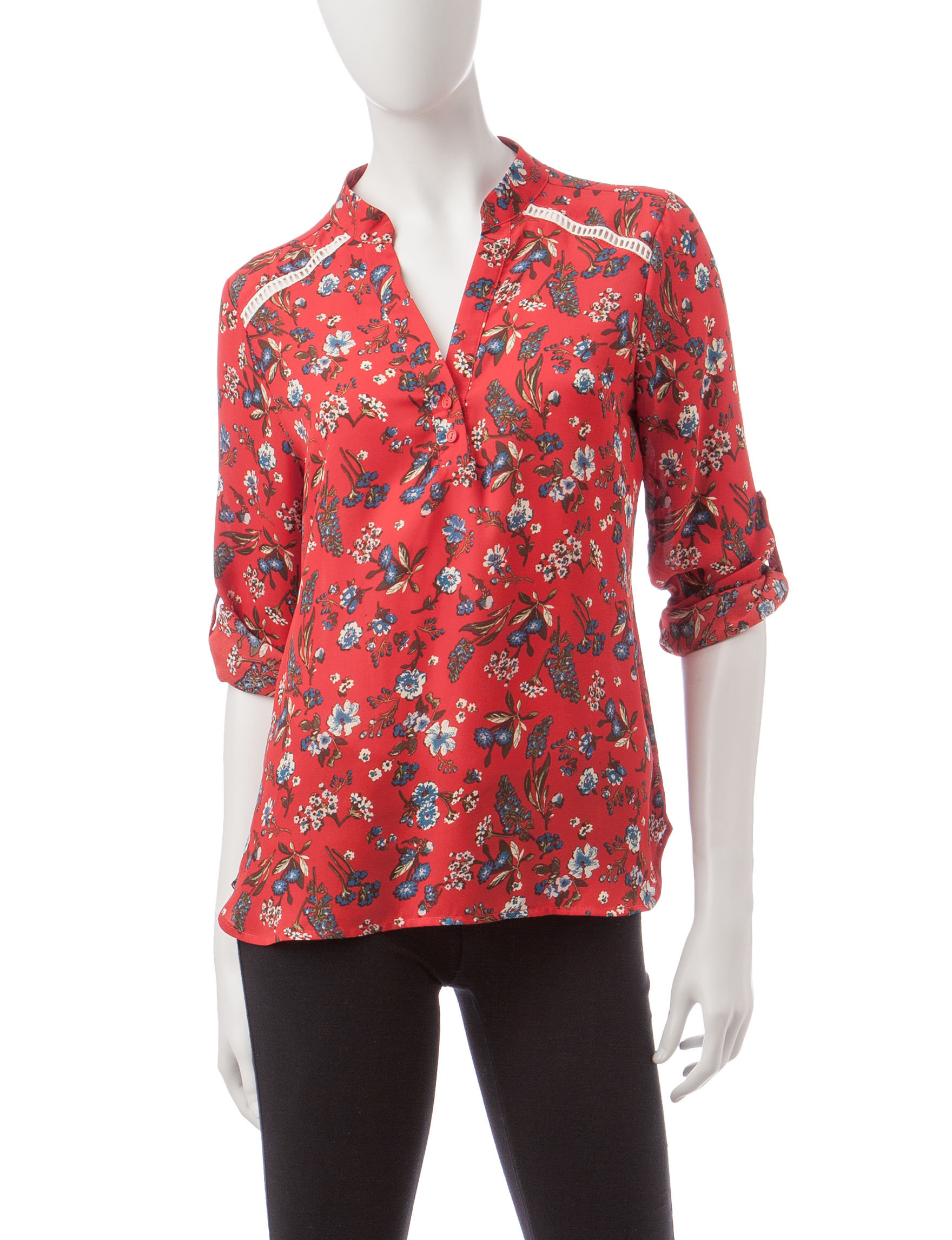 Wishful Park Red Multi Shirts & Blouses