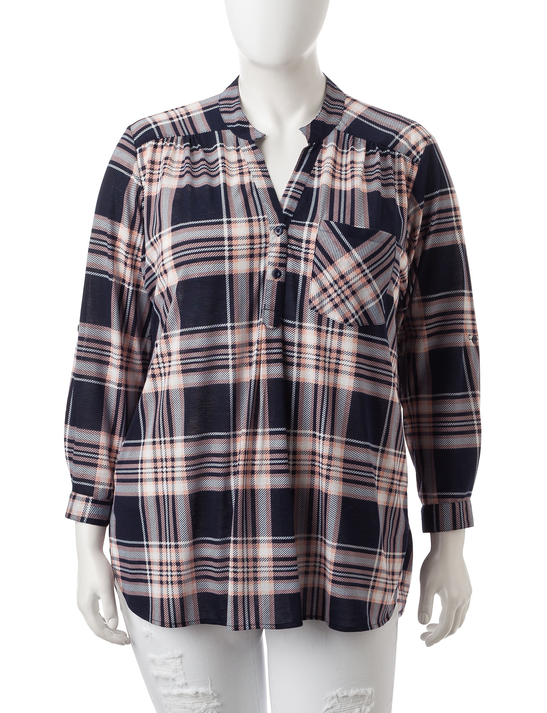 Justify Navy Plaid Pull-overs Shirts & Blouses