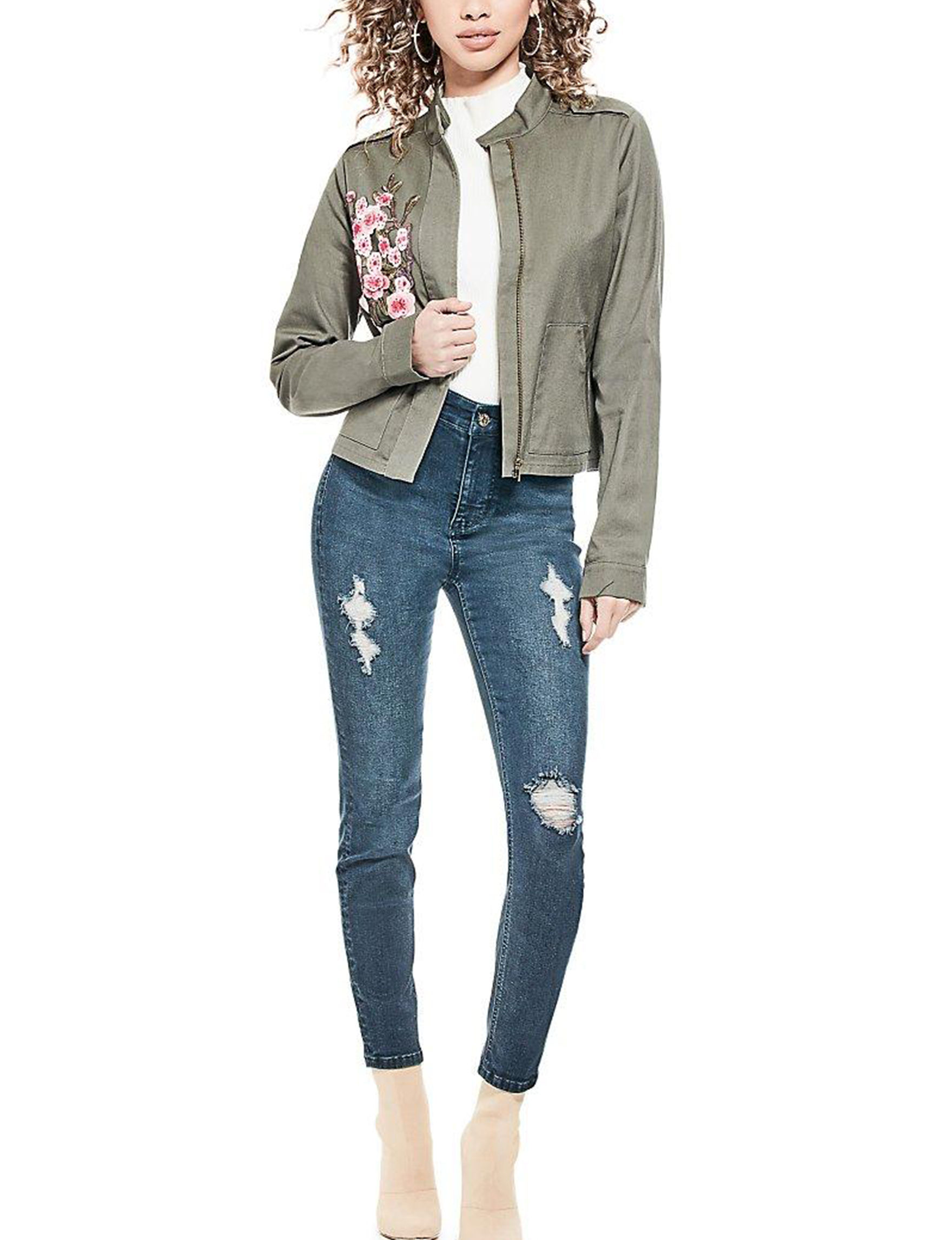 G by Guess Olive Lightweight Jackets & Blazers