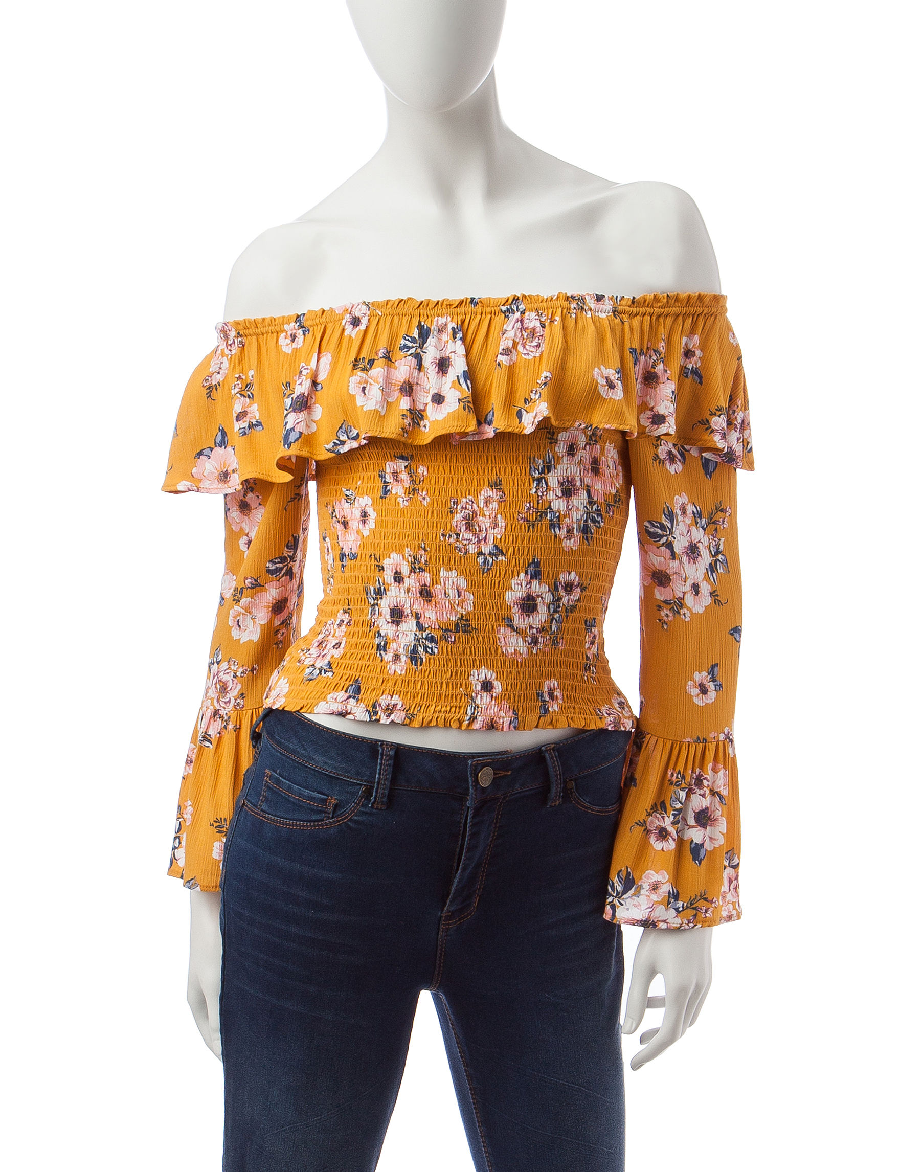 Almost Famous Dark Yellow Shirts & Blouses
