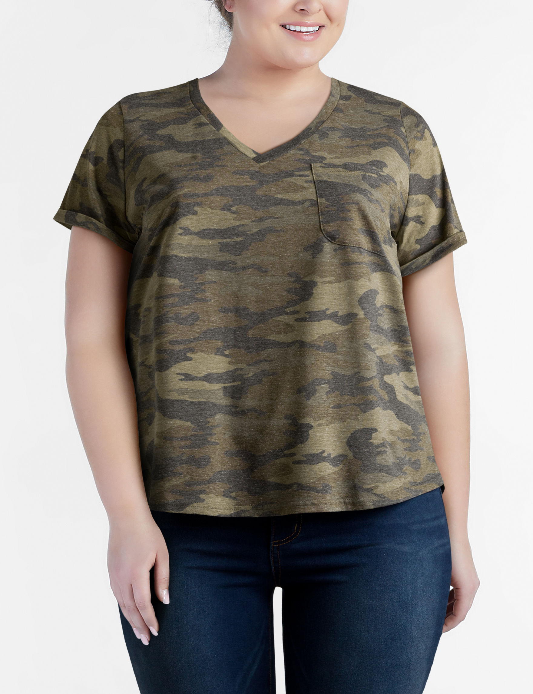 Justify Juniors-plus Camo Print Pocket Top | Stage Stores