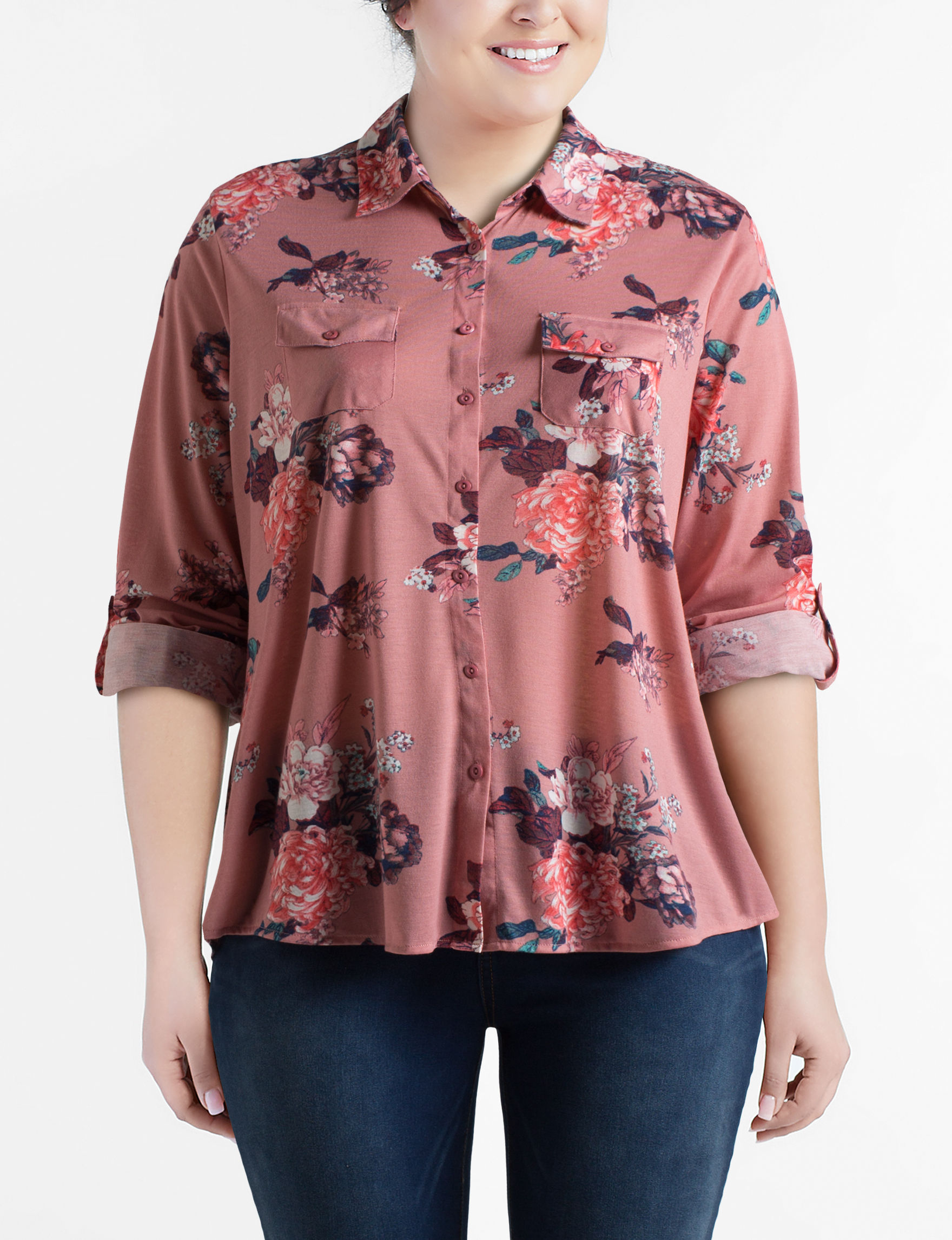 Justify Pink Floral Shirts & Blouses
