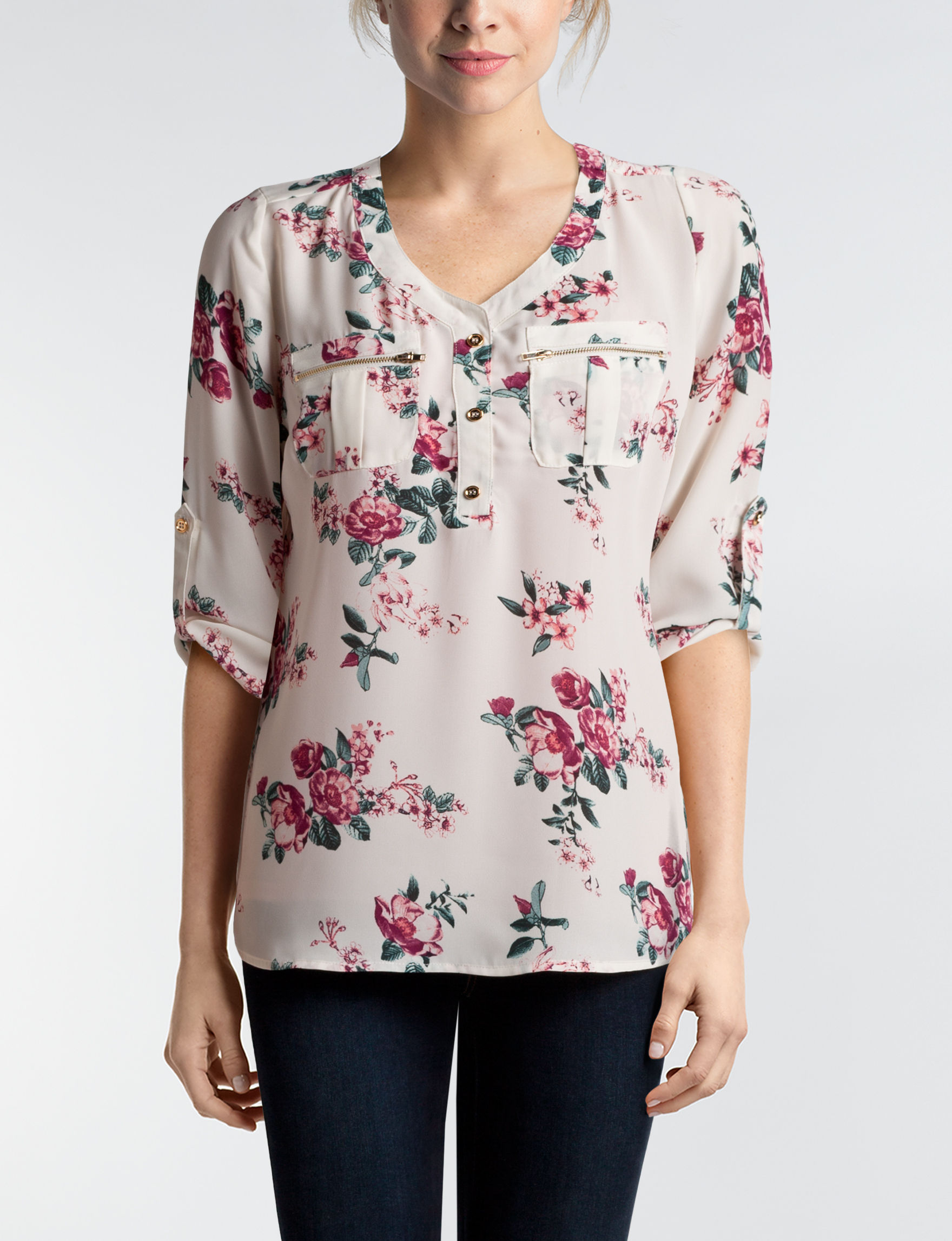Wishful Park Ivory / Pink Shirts & Blouses