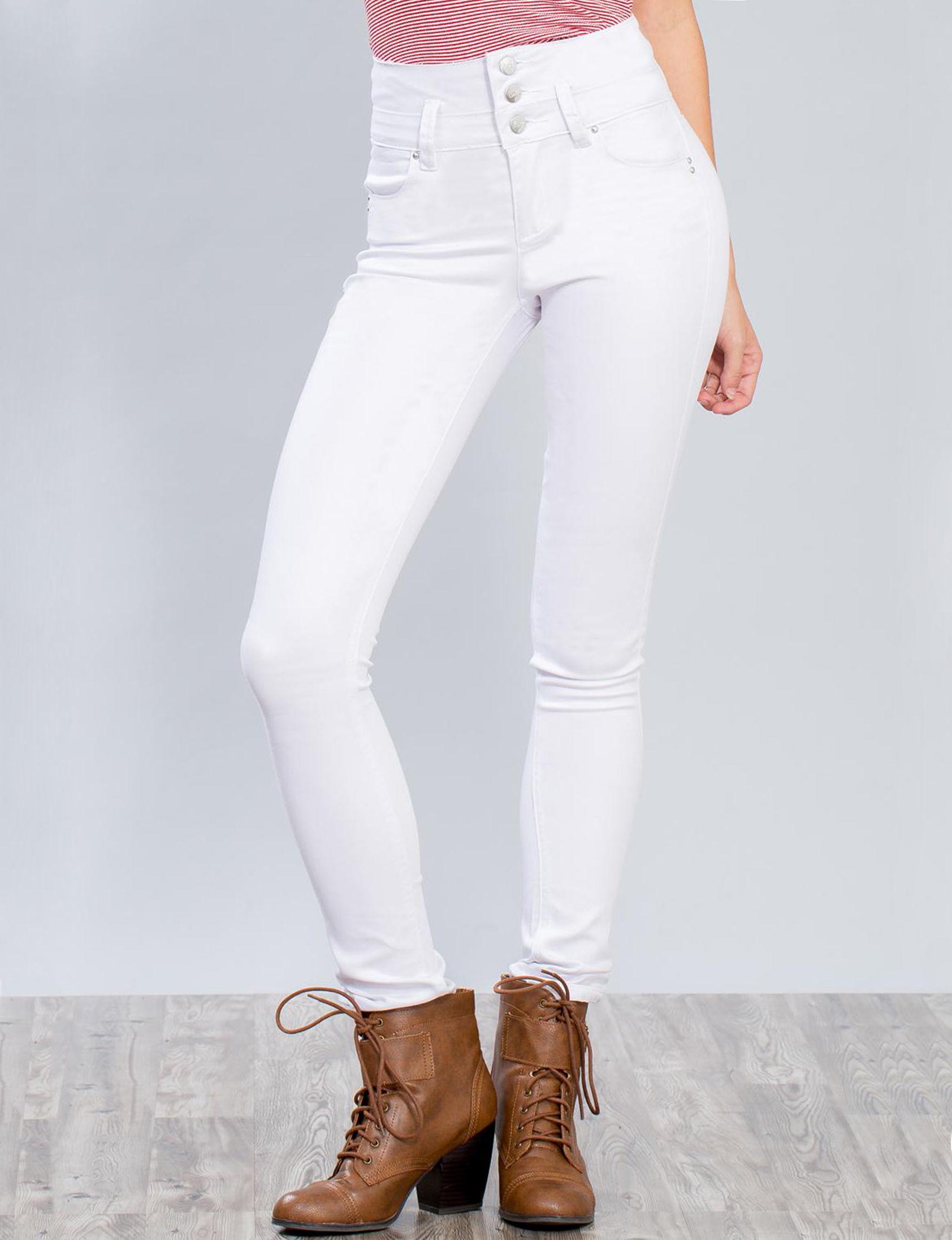 YMI White Skinny Stretch