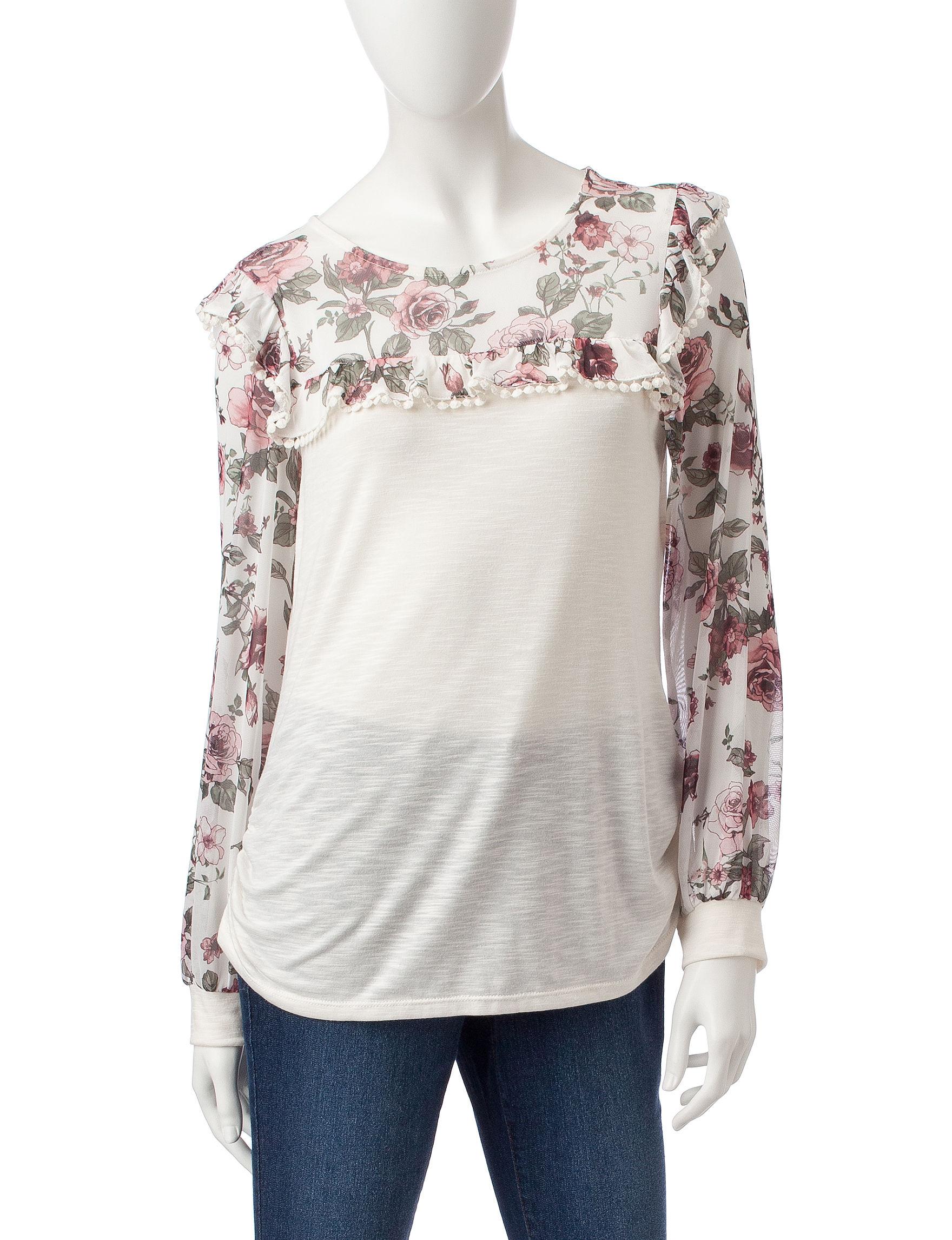 Signature Studio Ivory Floral Shirts & Blouses